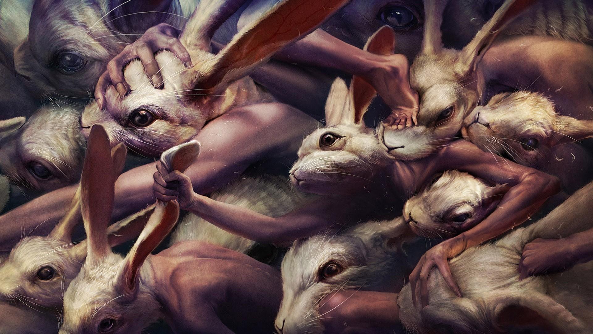 General 1920x1080 fantasy art creepy rabbits people artwork