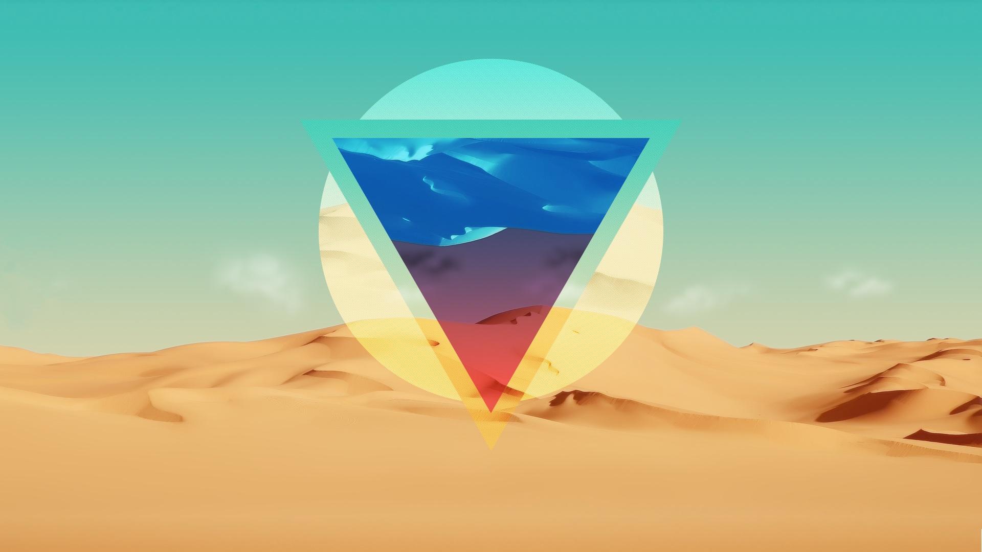 General 1920x1080 nature polyscape desert landscape artwork triangle shapes digital art simple