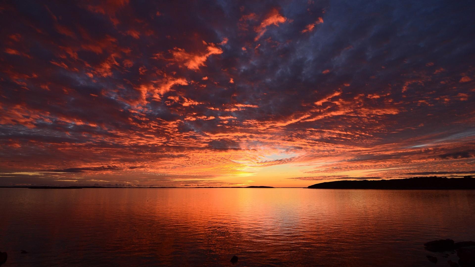 General 1920x1080 sunset water lake clouds Sun