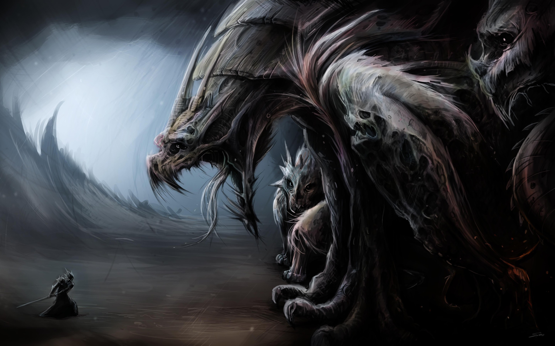 Anime 2880x1800 fantasy art warrior creature