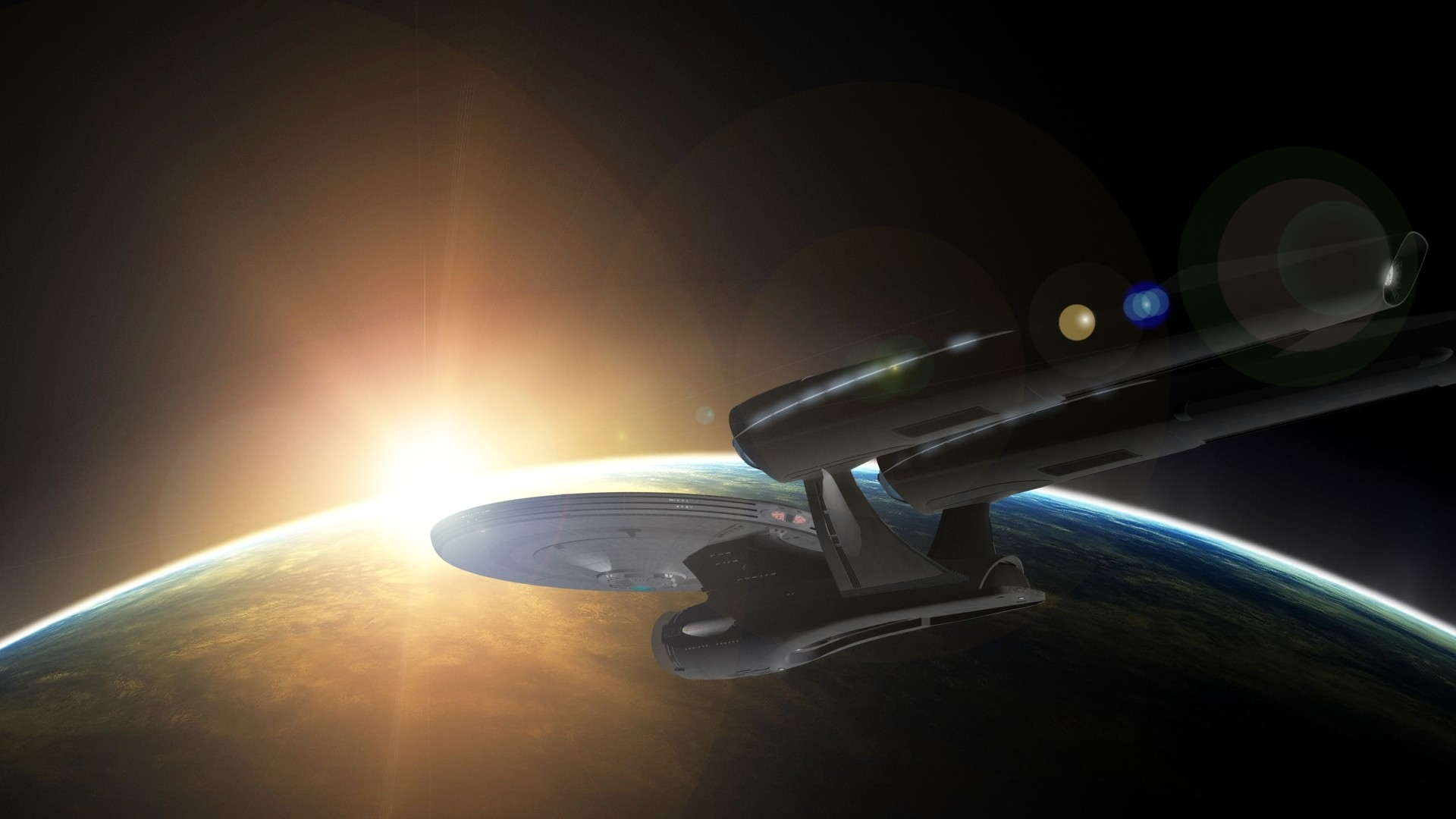 General 1920x1080 space Star Trek USS Enterprise (spaceship) Star Trek Kelvin Timeline planet sunrise orbital view