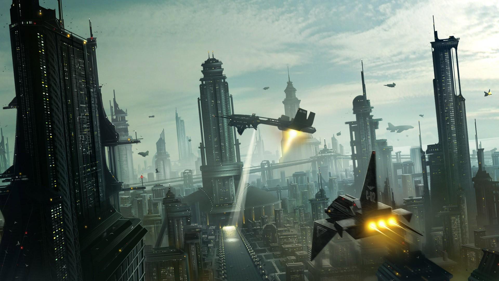 General 1920x1080 futuristic spaceship science fiction aircraft digital art futuristic city cityscape