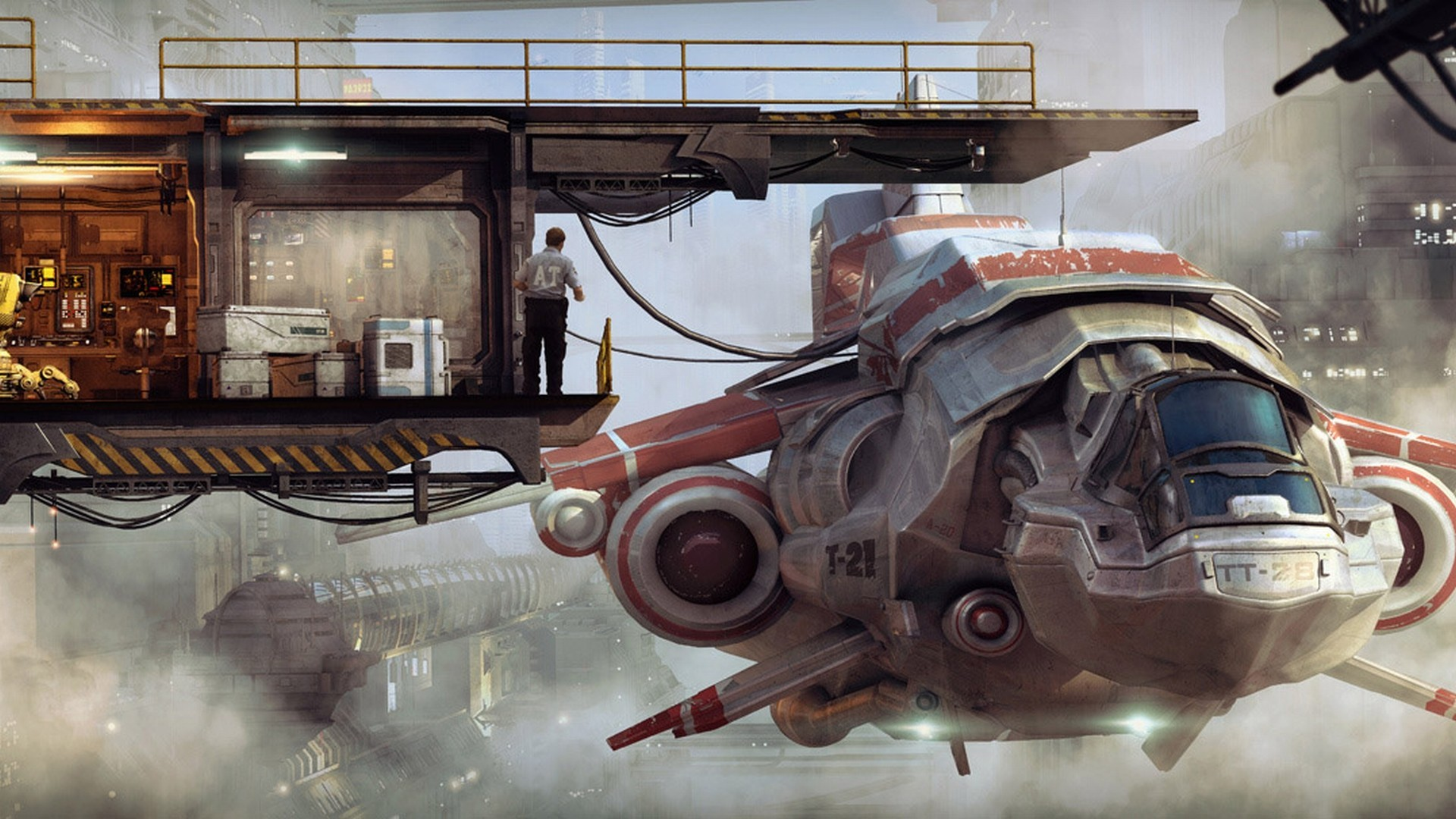 General 1920x1080 spaceship science fiction digital art futuristic vehicle artwork cyberpunk fantasy art