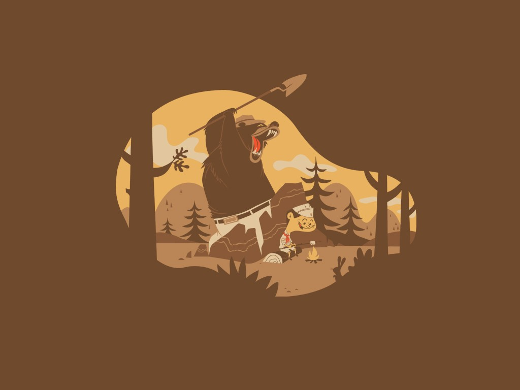 General 1024x768 humor dark humor bears minimalism brown Smokey the Bear