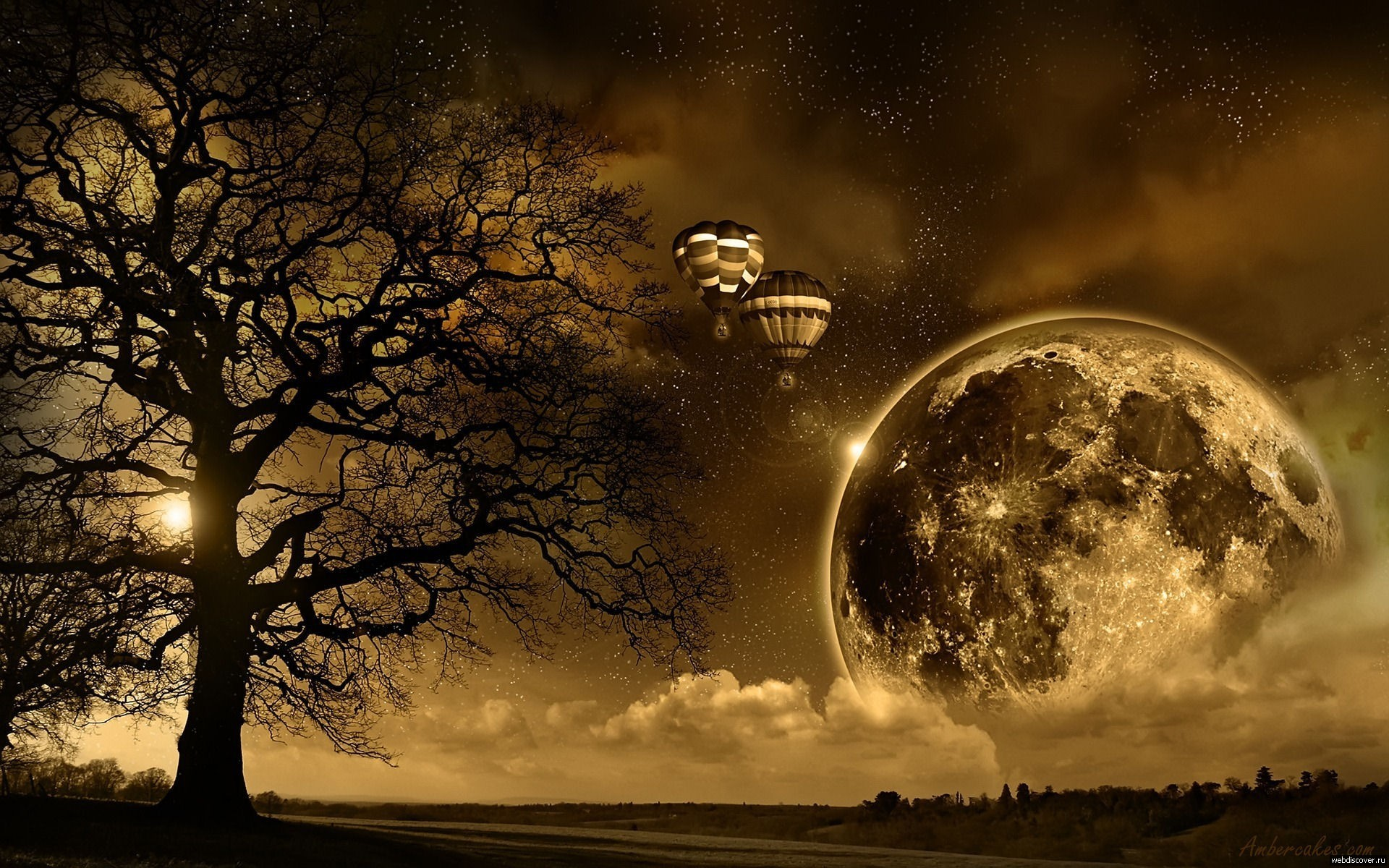 General 1920x1200 space art space hot air balloons landscape digital art sepia
