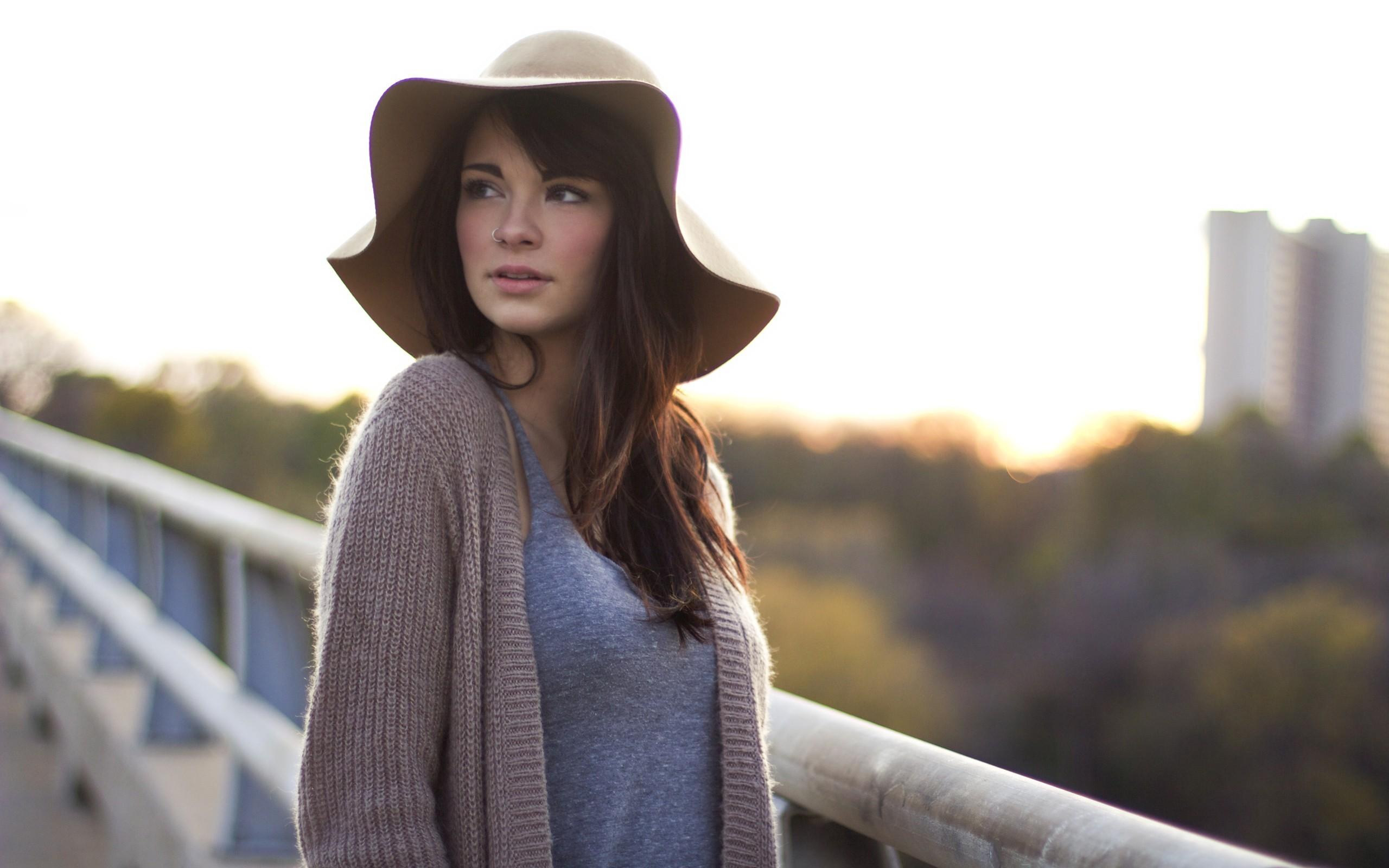 People 2560x1600 cardigan nose rings women outdoors looking away brunette Devyn Hannon
