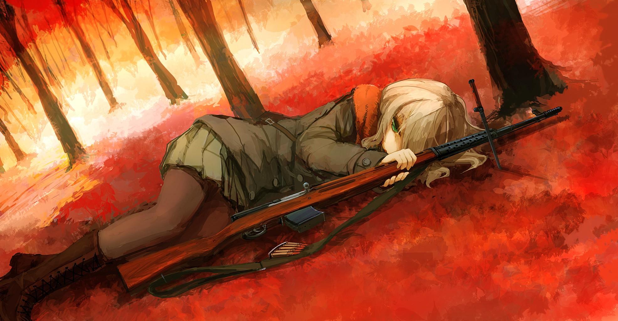 Anime 1971x1024 anime girls anime fall weapon rifles