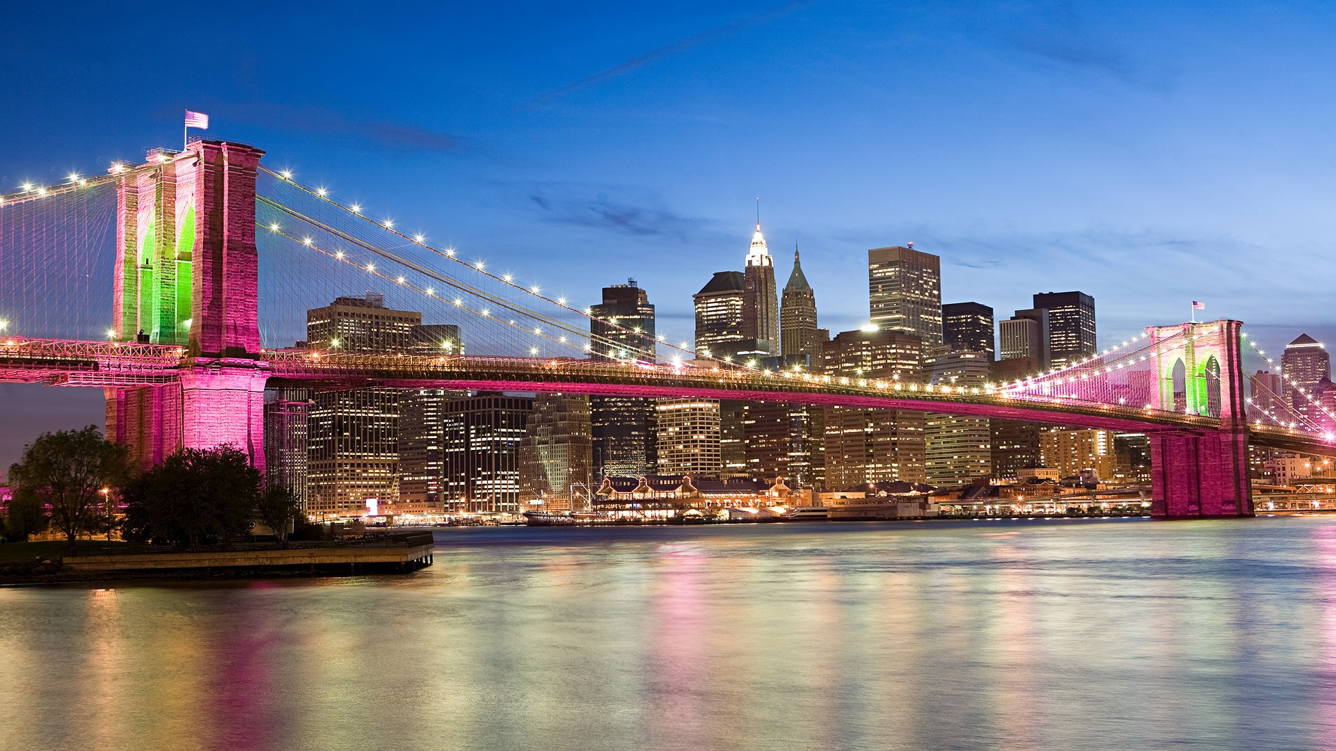 General 1920x1080 USA New York City bridge Brooklyn Bridge sea architecture pink city cityscape