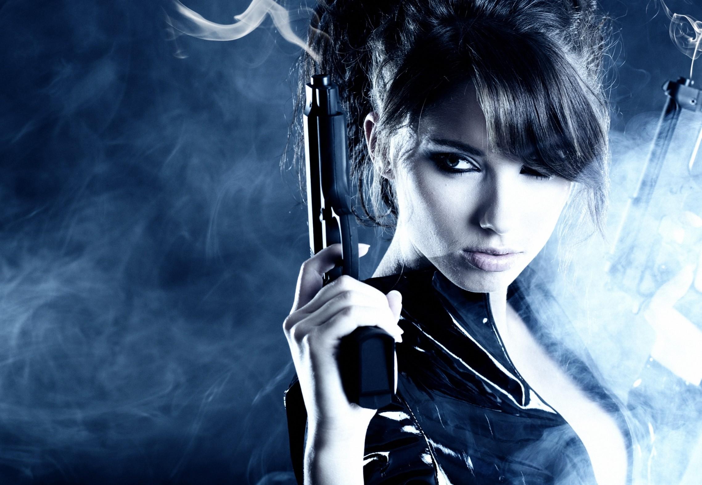 People 2277x1575 pistol girls with guns gun brunette