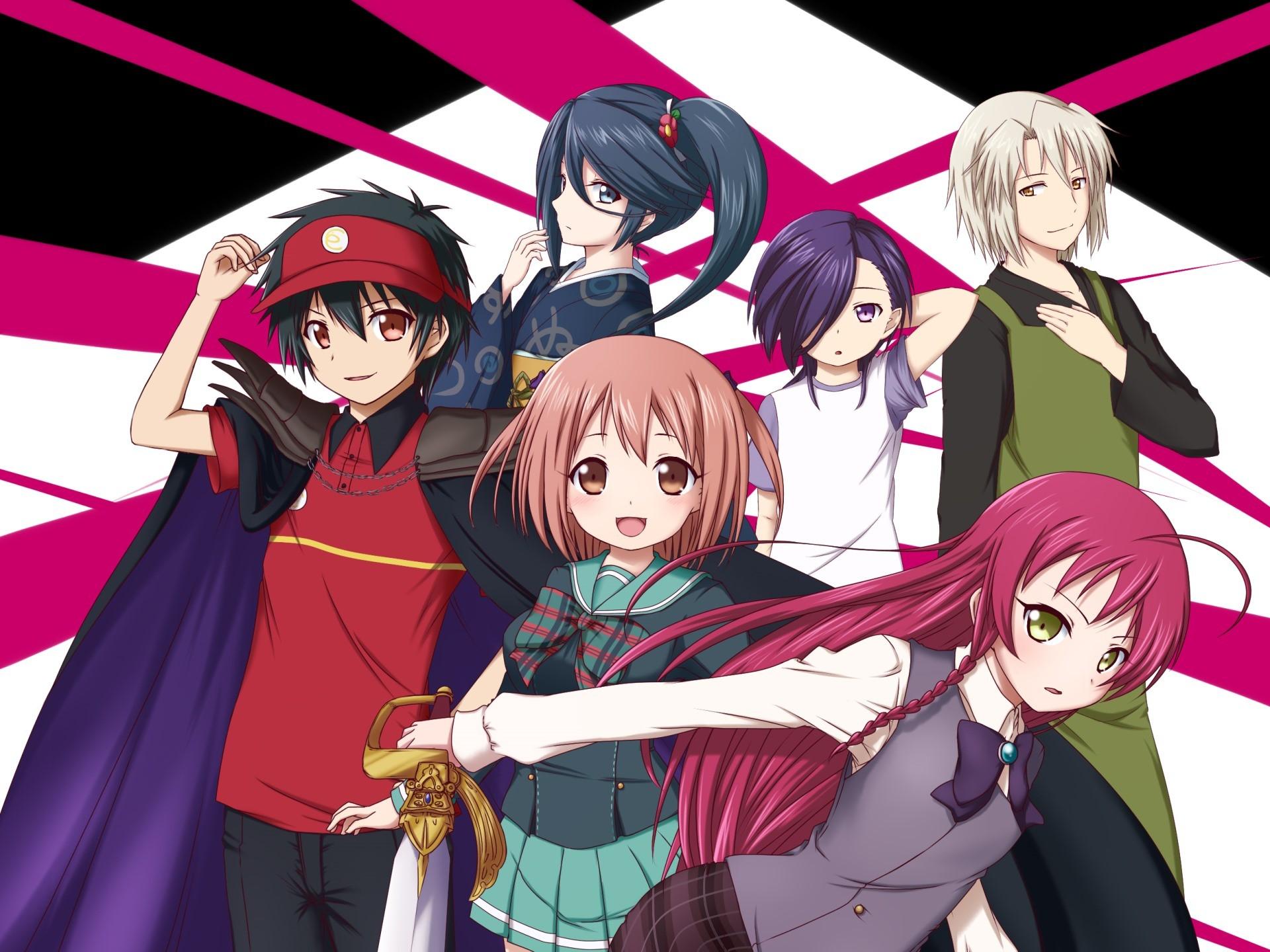 Anime 1920x1440 anime anime girls Hataraku Maou-sama! Ashiya Shirou Kamazuki Suzuno Maou Sadao Sasaki Chiho Yusa Emi
