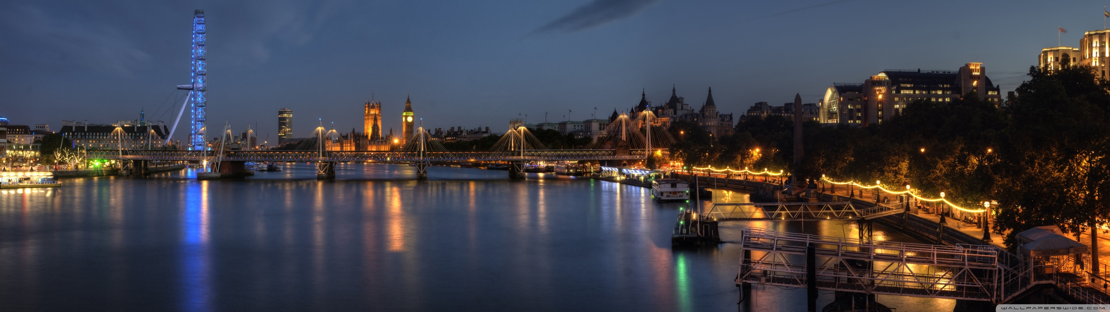 General 3840x1080 cityscape city skyline London London Eye Big Ben River Thames UK lights river water