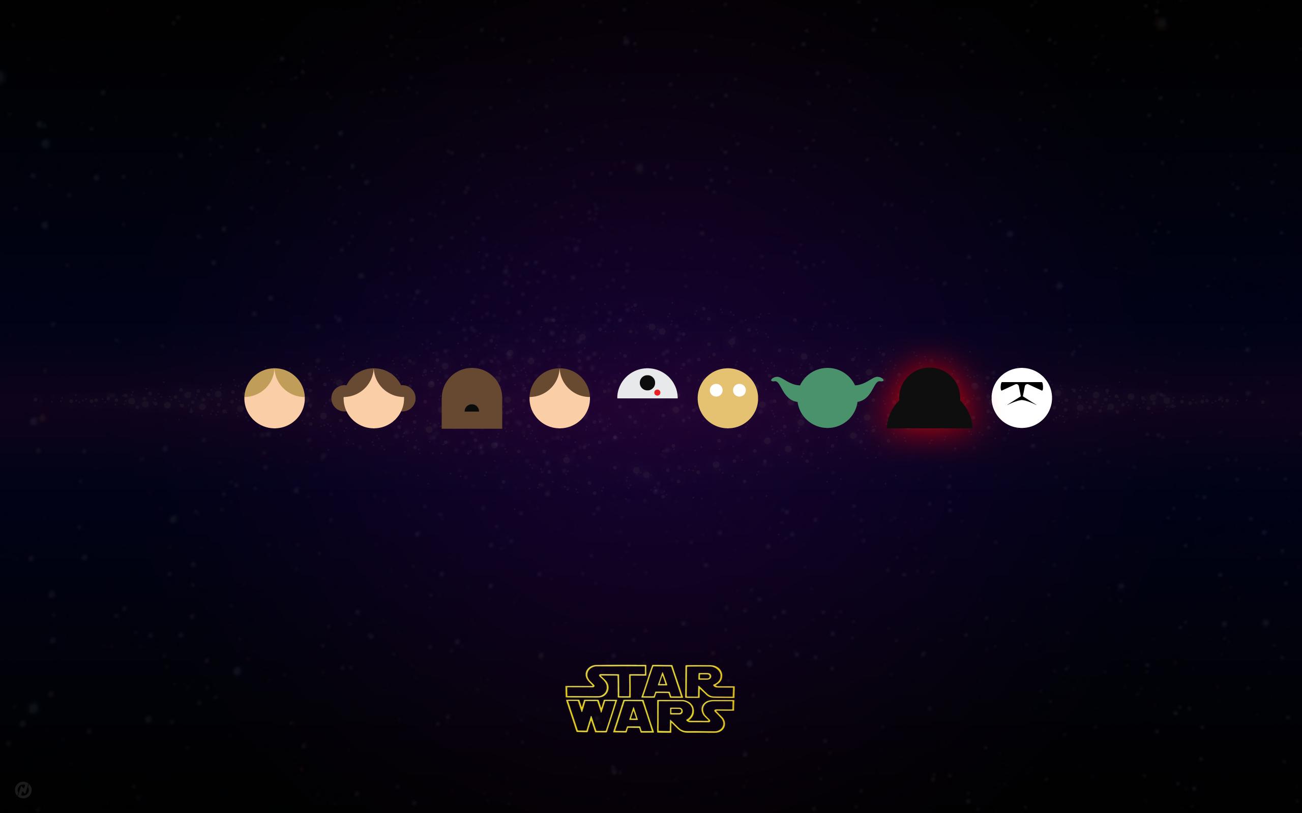 General 2560x1600 Star Wars minimalism Yoda Han Solo Princess Leia R2-D2 Luke Skywalker Chewbacca C-3PO Darth Vader stormtrooper