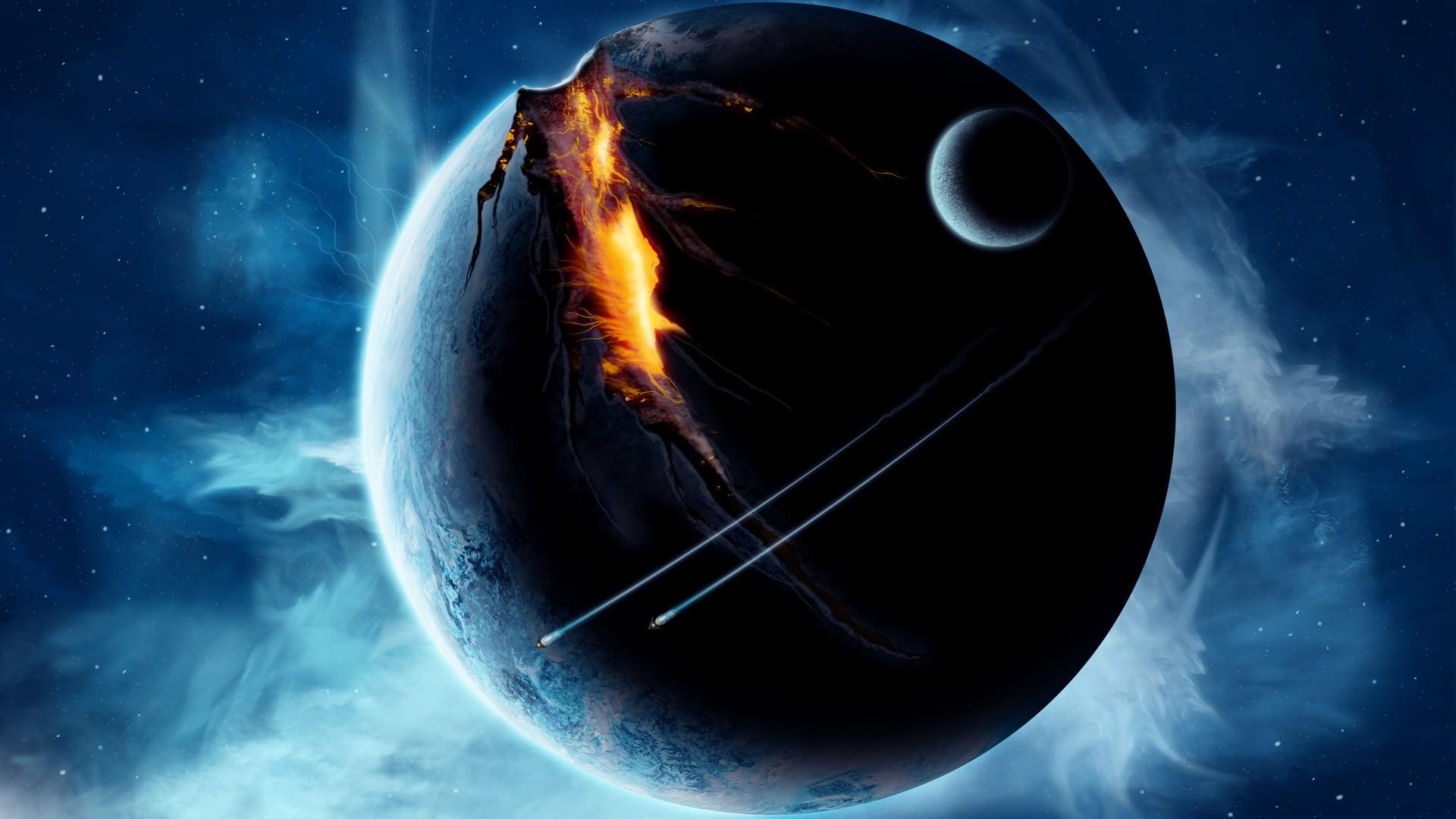 General 1920x1080 digital art space universe spaceship planet stars nebula futuristic fire