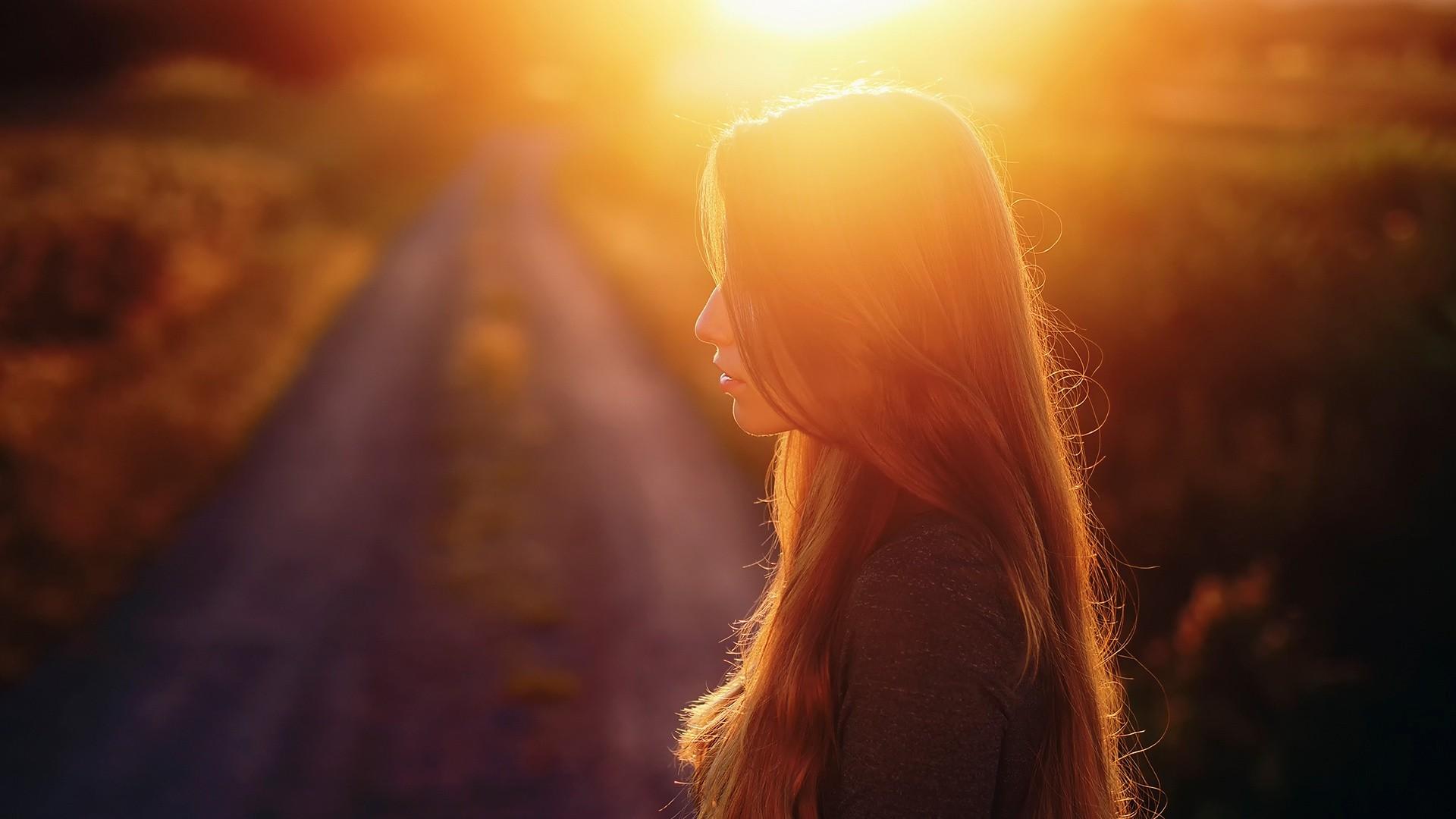 People 1920x1080 sunlight women outdoors long hair road blurred profile women face natural light