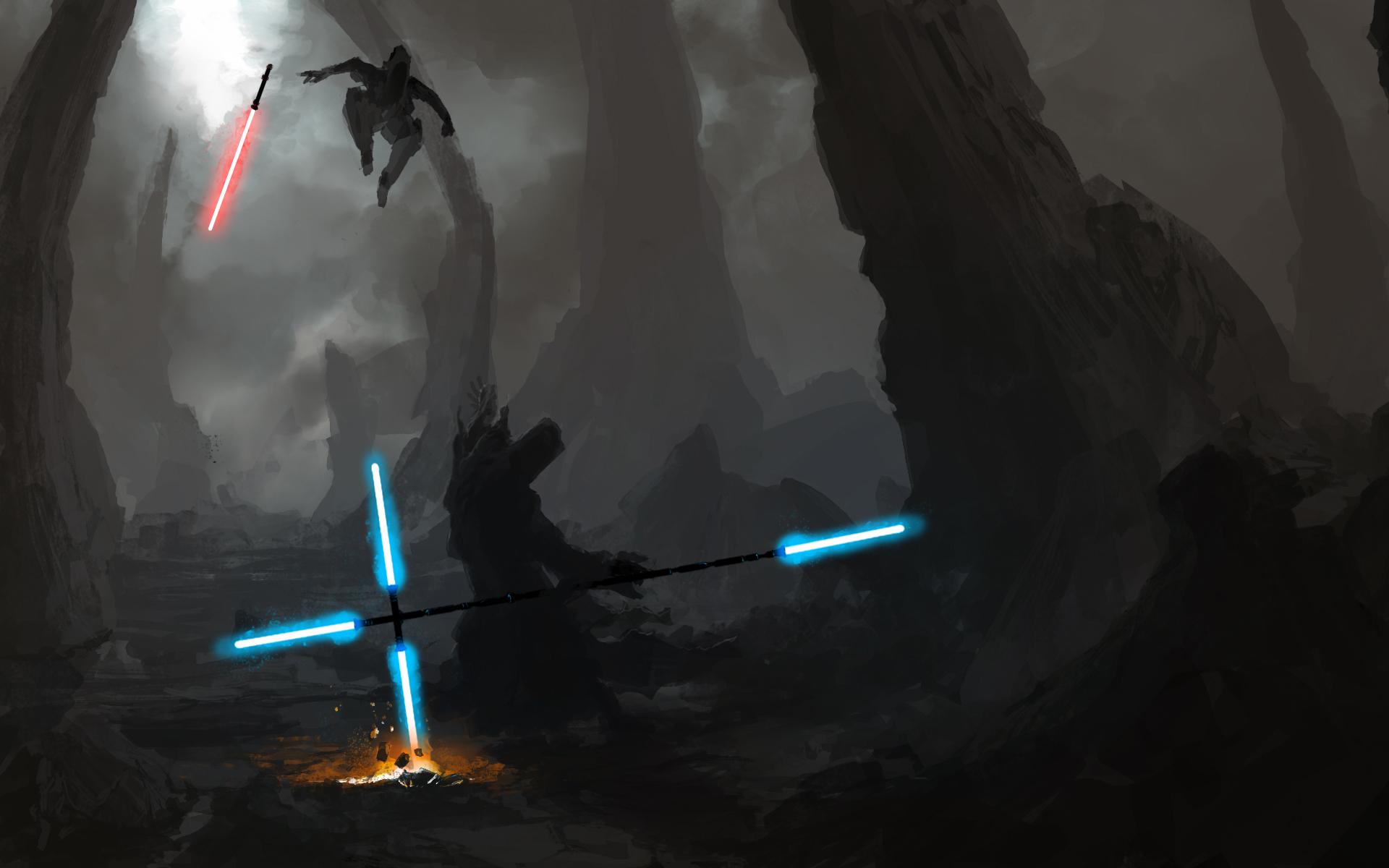 General 1920x1200 Star Wars sword red blue lightsaber artwork Sith Jedi science fiction cyan