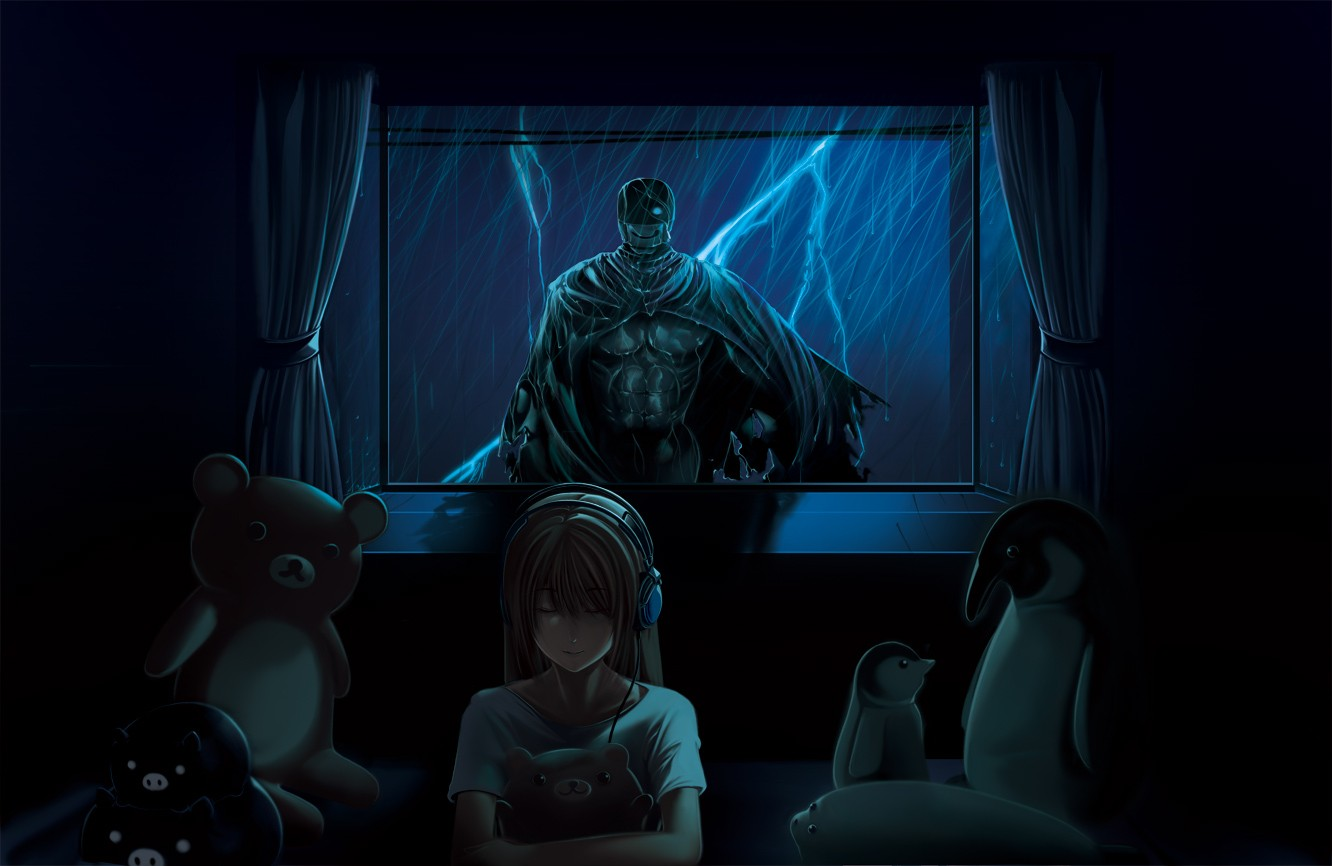 Anime 1332x866 horror cyborg headphones women teddy bears window curtain anime girls