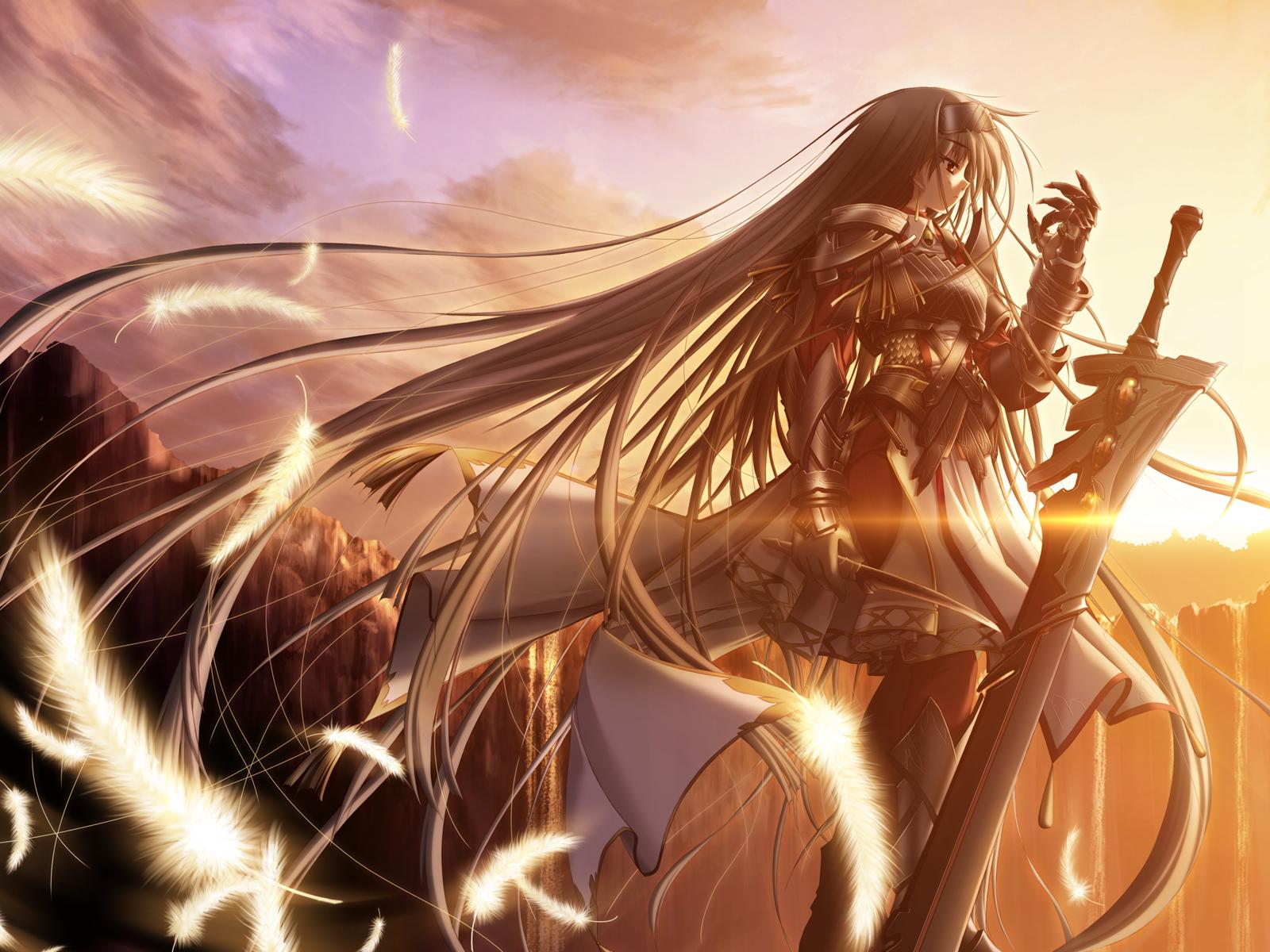 Anime 1600x1200 anime anime girls sword Gamer tech long hair hair   standing feathers fantasy art fantasy girl original characters sunlight armor