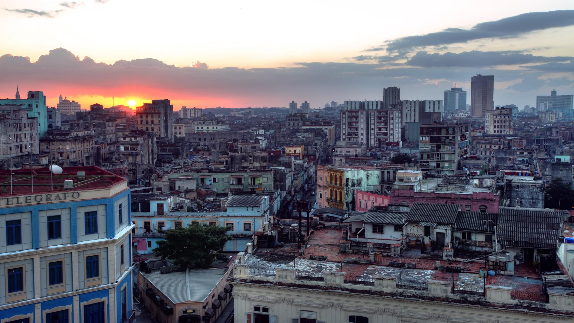General 1920x1080 city Havana rooftops sunset cityscape
