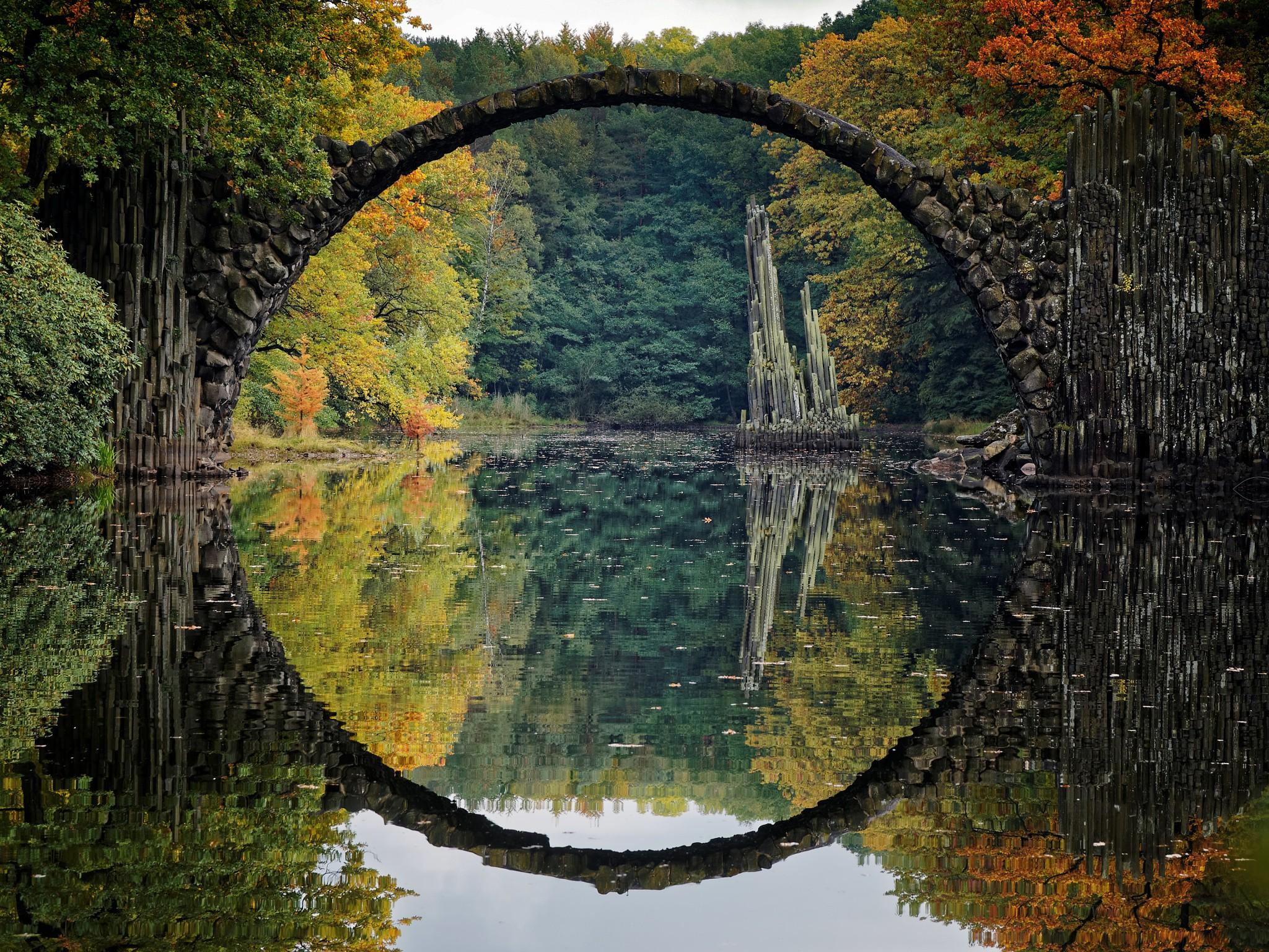 General 2048x1536 bridge river reflection fall landscape colorful Germany Rakotzbrücke Devil's Bridge, Germany