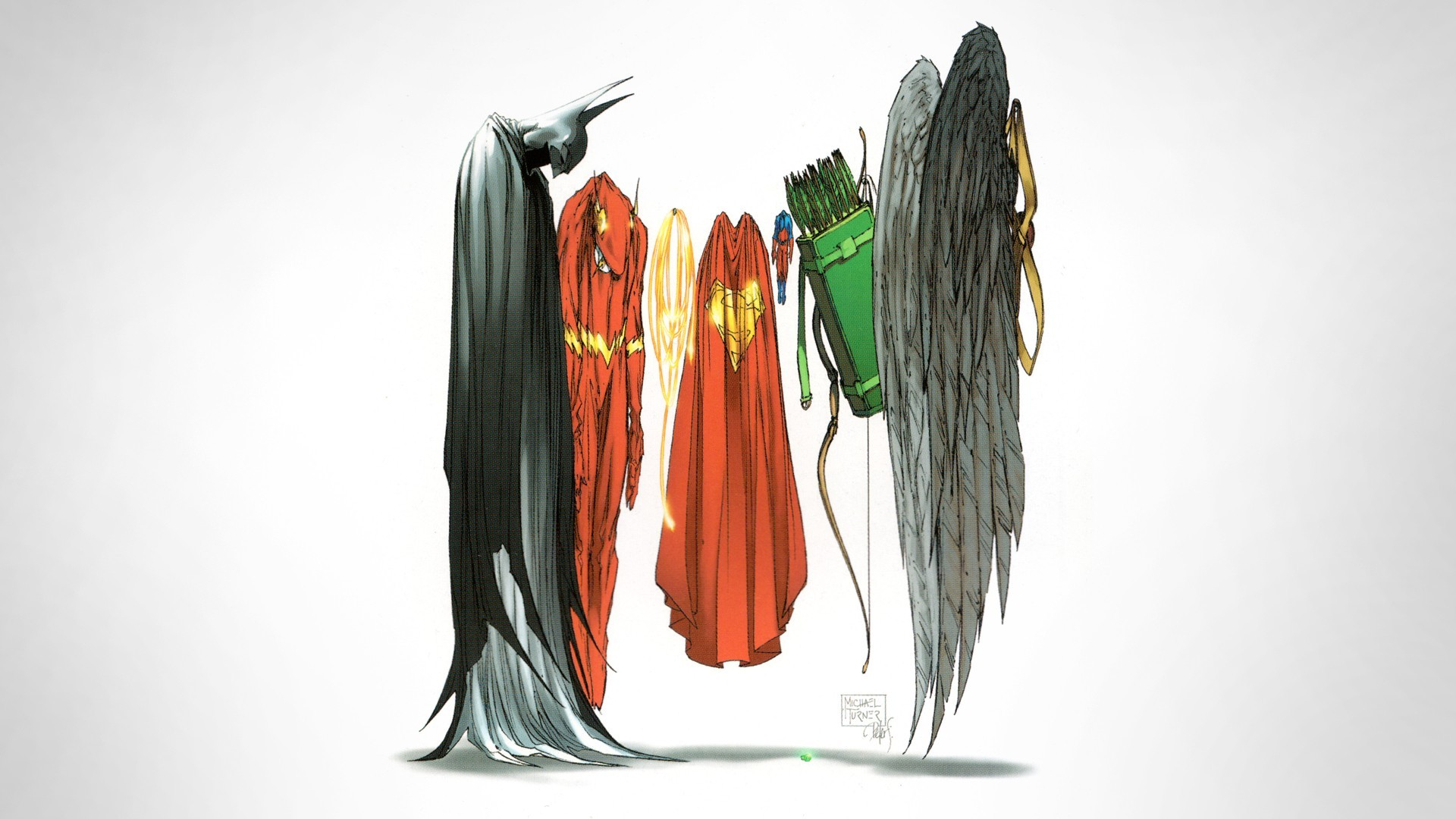 General 1920x1080 superhero cape Batman costumes Superman The Flash Green Arrow Wonder Woman simple background Michael Turner illustration The Atom Hawkman Justice League