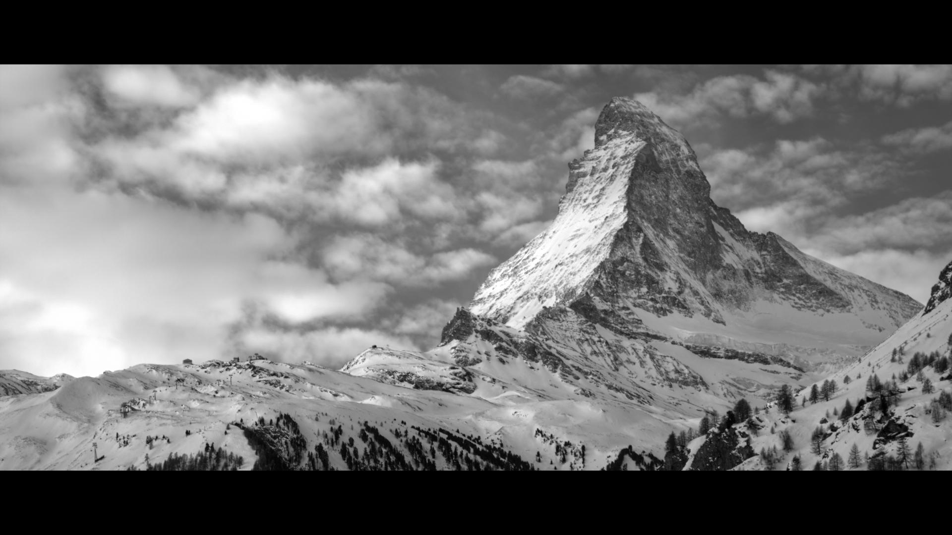 General 1920x1080 monochrome mountains winter snow Matterhorn Switzerland landscape