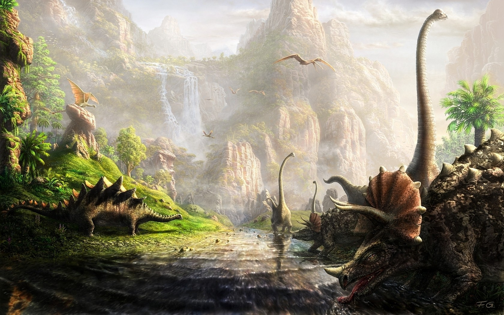 General 1680x1050 dinosaurs fantasy art Triceratops river cliff animals