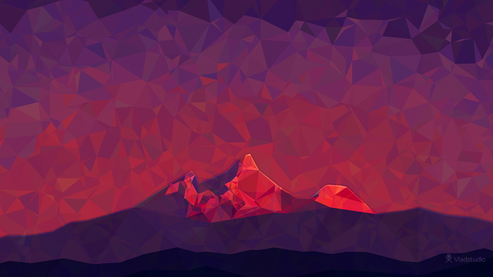 General 1920x1080 digital art low poly minimalism 2D triangle simple nature mountains Vladstudio hills