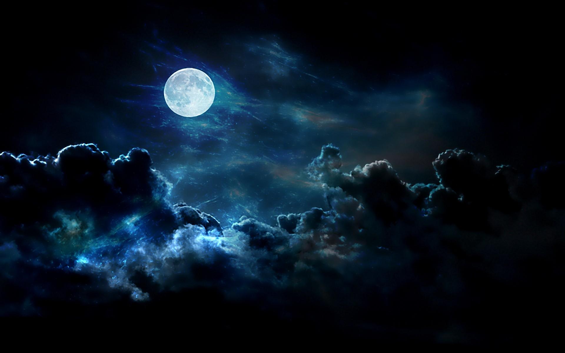 General 1920x1200 Luna dark sky Moon clouds night sky cyan