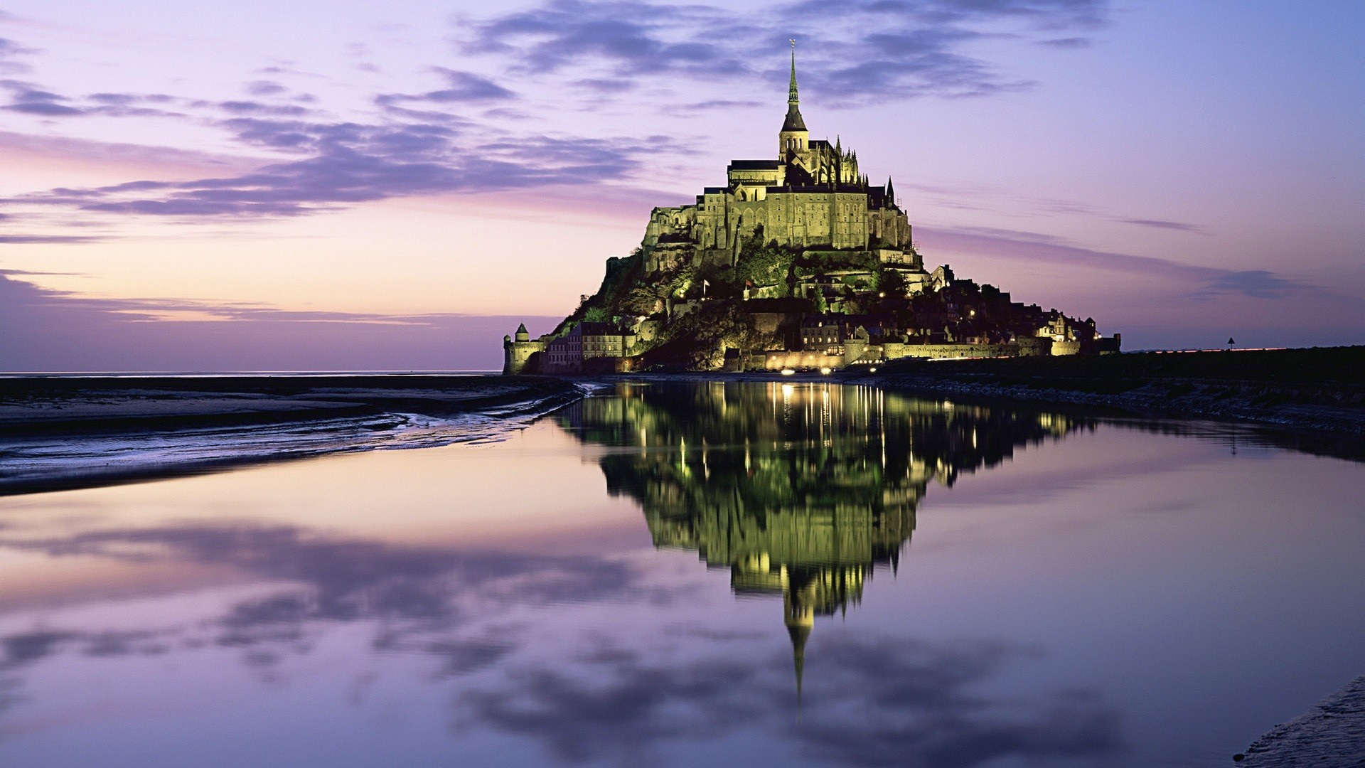 General 1920x1080 Mont Saint-Michel photography reflection Abbey purple sky island World Heritage Site France monastery