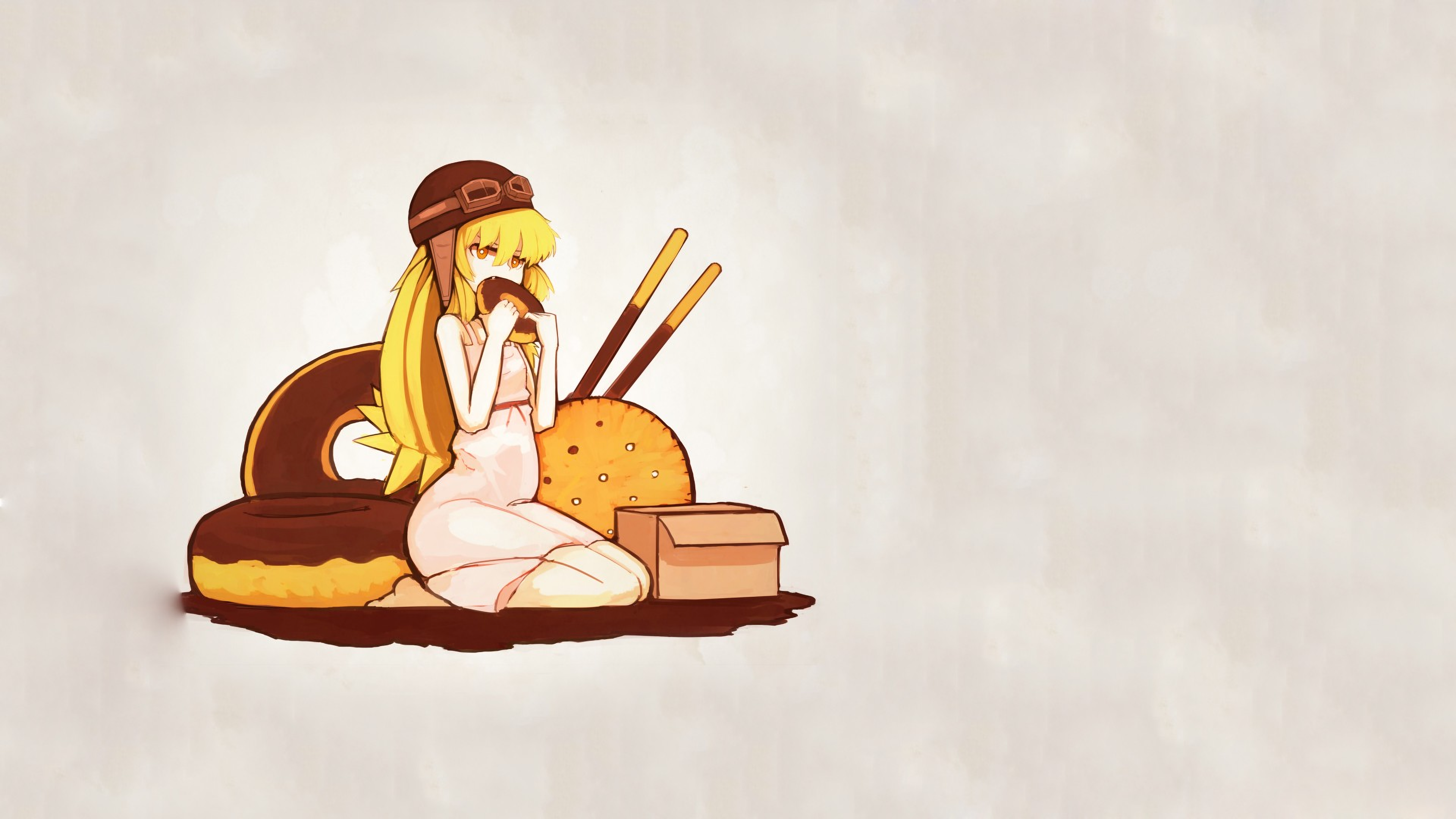Anime 3840x2160 anime anime girls Oshino Shinobu blonde long hair Monogatari Series