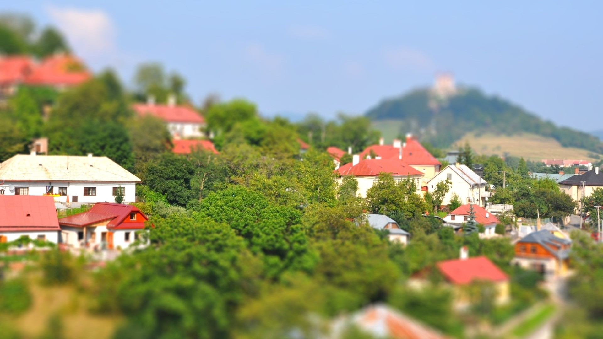 General 1920x1080 architecture town house building landscape Slovakia trees hills castle tilt shift rooftops nature