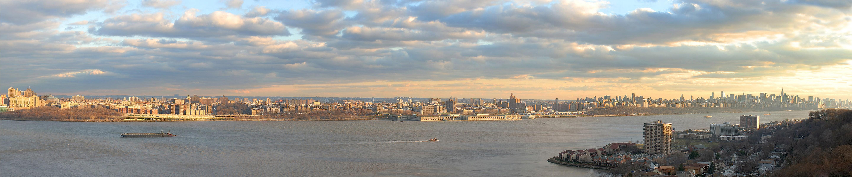 General 5760x1200 New York City triple screen wide angle Hudson River Manhattan cityscape