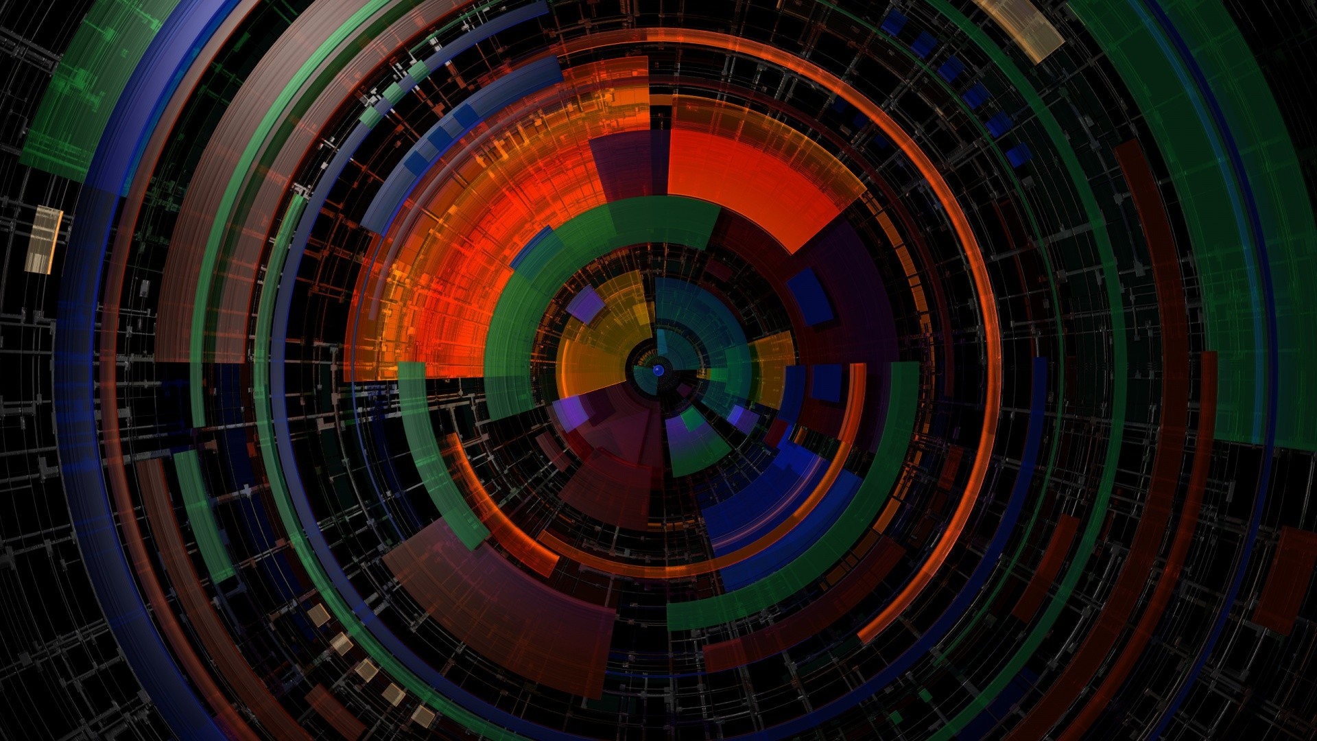 General 1920x1080 circle symmetry digital art colorful lines abstract