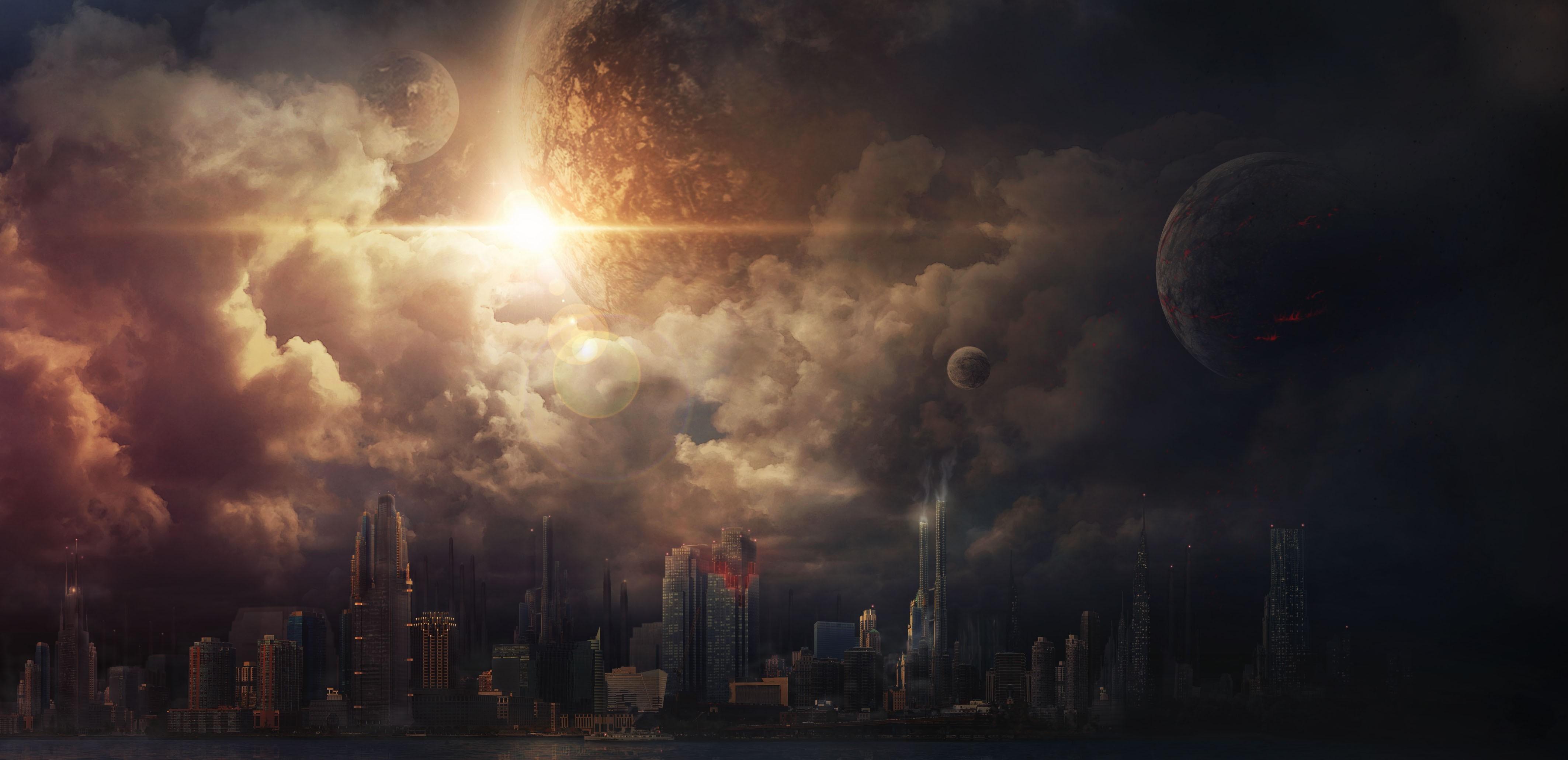 General 4252x2060 digital art eclipse  space art apocalyptic