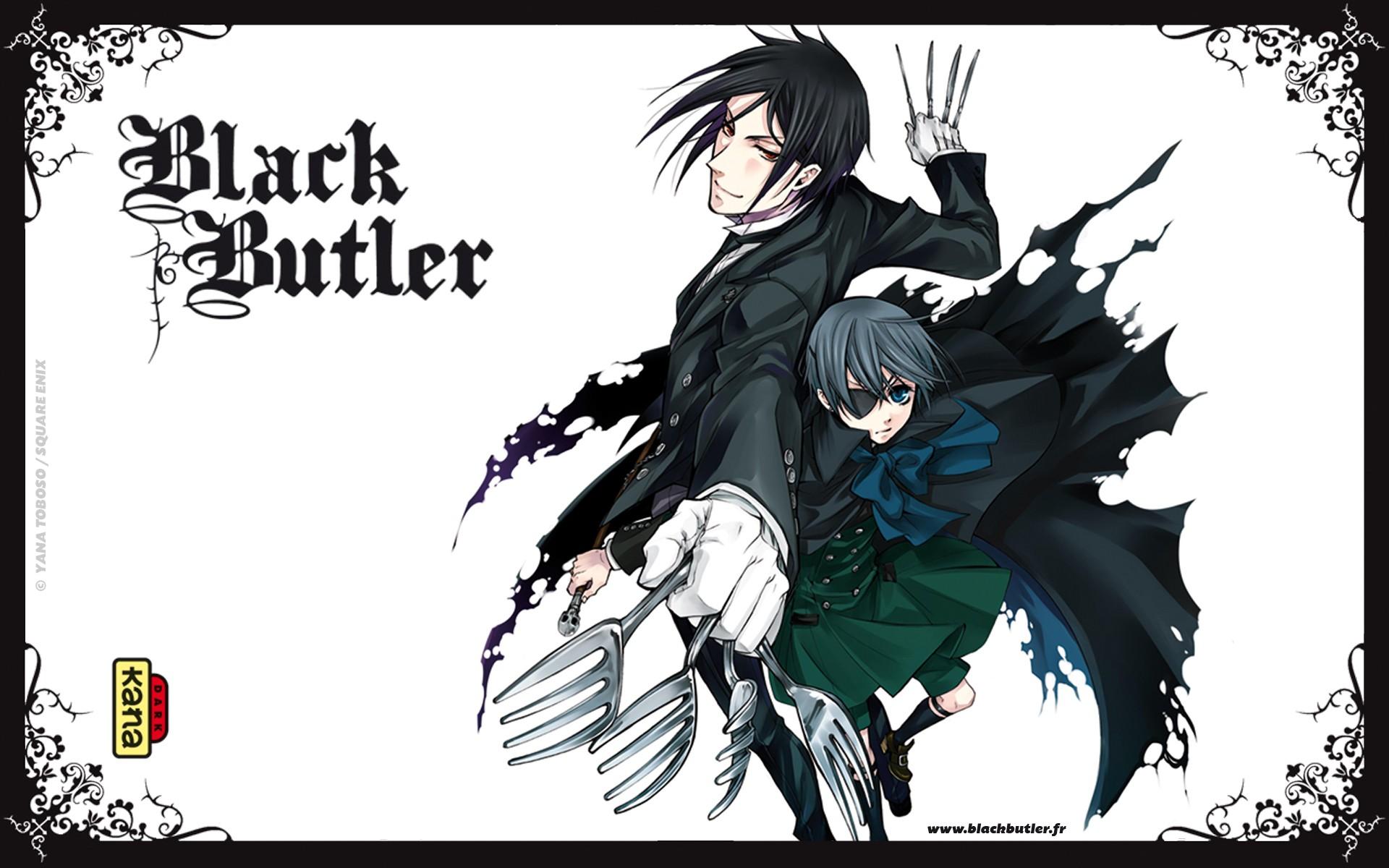 Anime 1920x1200 Kuroshitsuji  Black Butler Michaelis Sebastian Ciel Phantomhive anime anime boys eyepatches fork blue eyes red eyes simple background white background