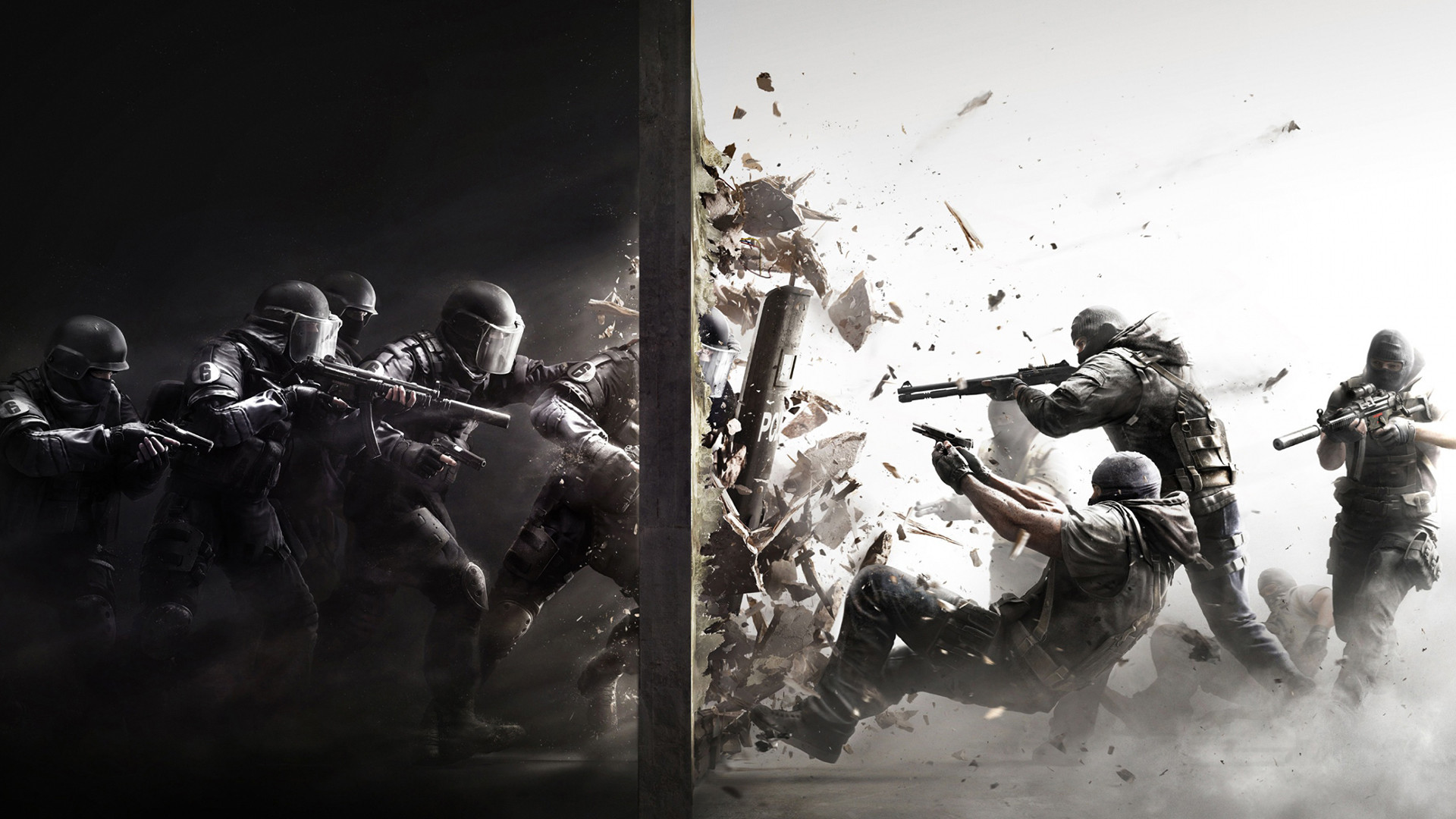 General 1920x1080 police gun debris SWAT Rainbow Six: Siege video games weapon Rainbow Six splitting soldier digital art rifles video game art 2015 (Year) PC gaming