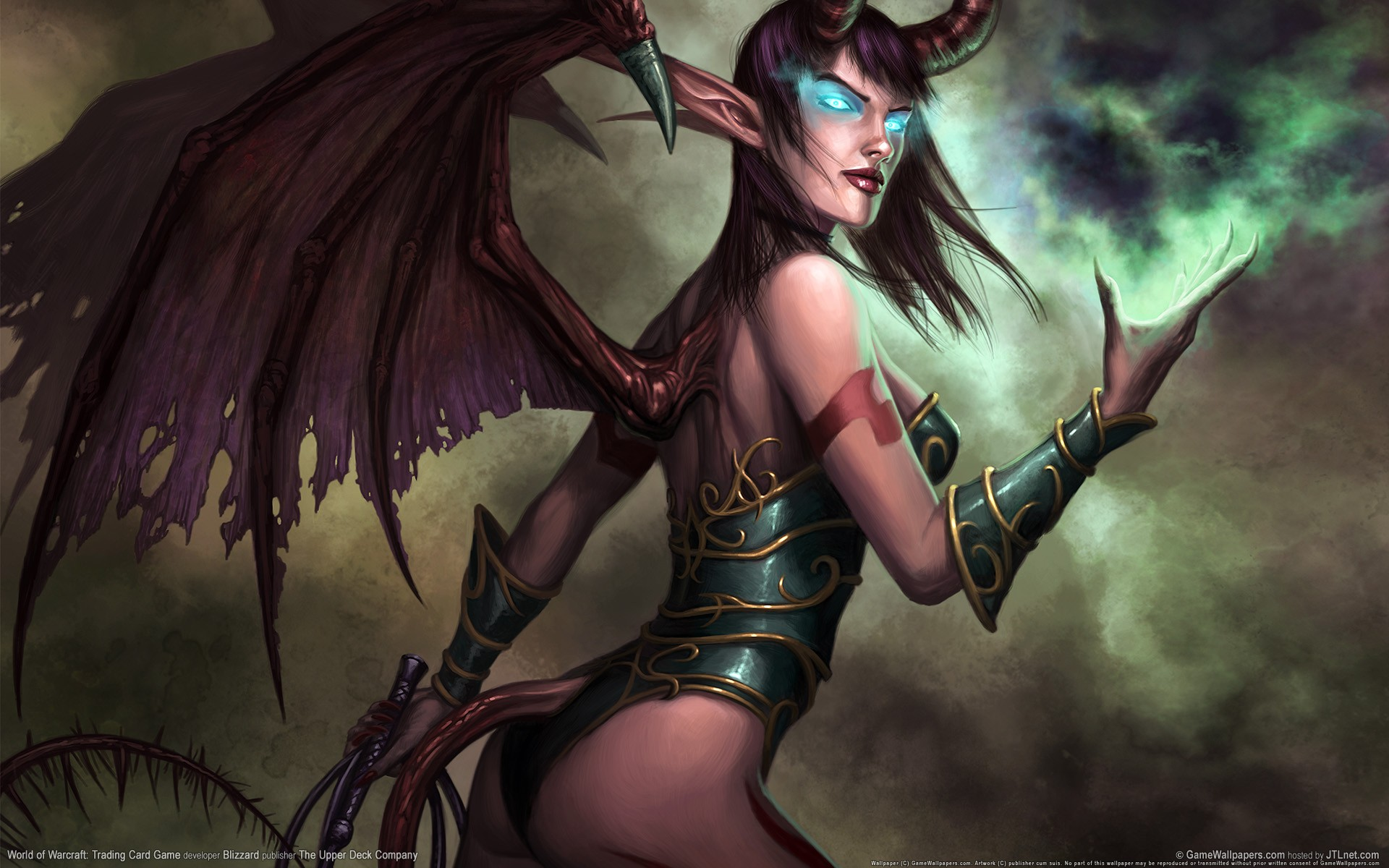 General 1920x1200 realistic World of Warcraft demon blue eyes succubus Trading Card Games demon girls wings cyan eyes glowing eyes horns pointy ears tail video game girls video game art