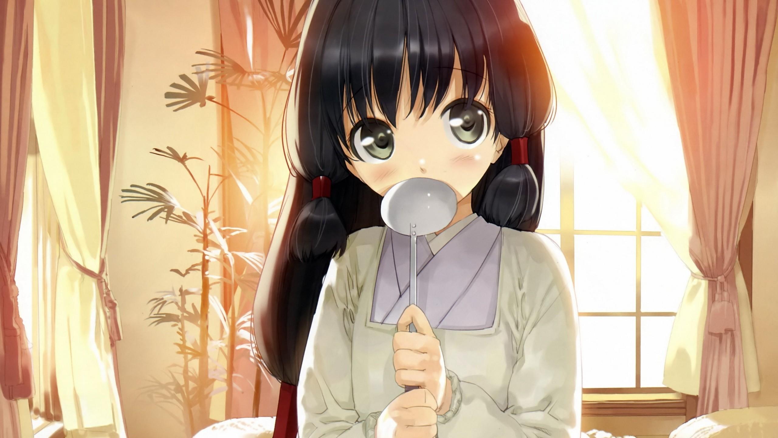 Anime 2560x1440 anime girls anime Nanatsu no Fushigi no Owarutoki eyes Japanese clothes brunette long hair green eyes