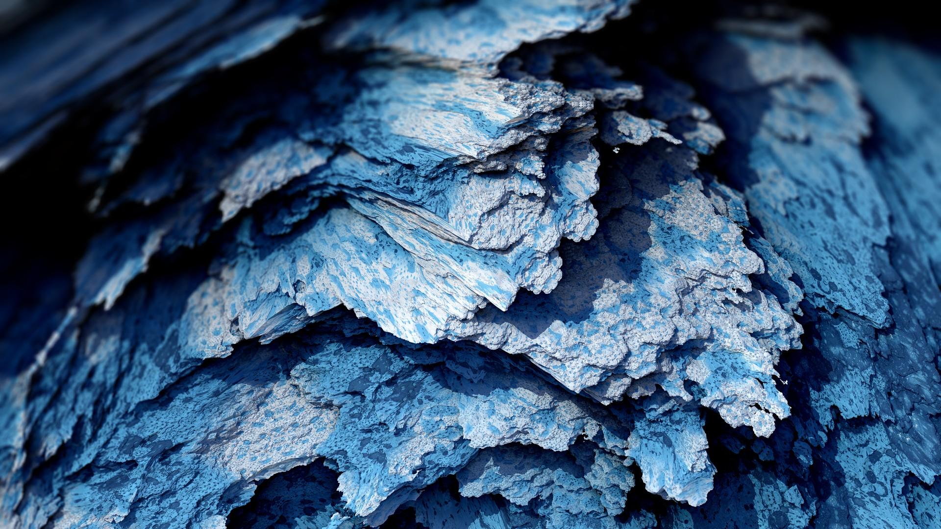 General 1920x1080 Procedural Minerals mineral blue abstract artwork CGI digital art