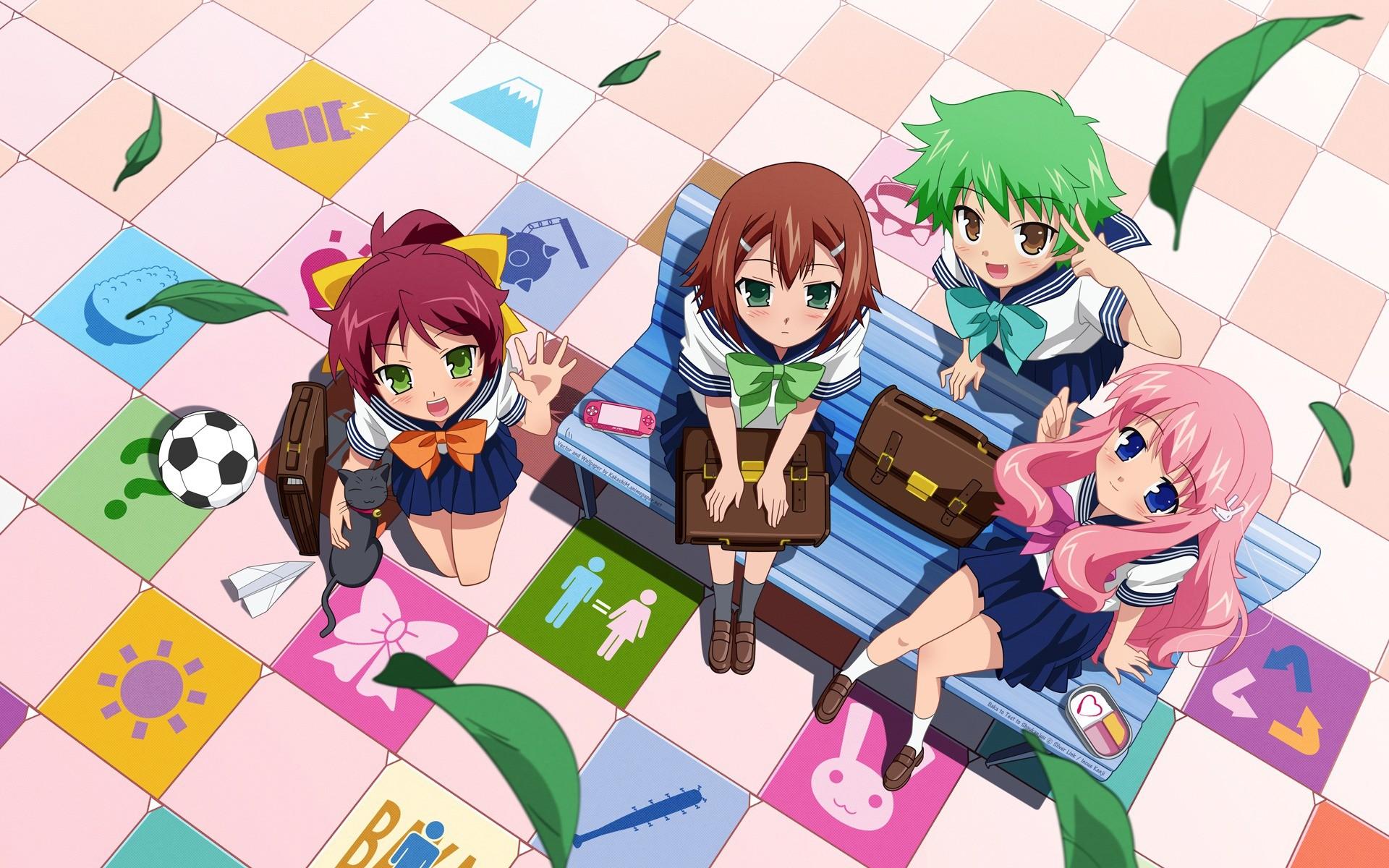 Anime 1920x1200 Baka to Test to Shoukanjuu  anime anime girls anime boys Hideyoshi Kinoshita group of women looking up soccer ball bench sitting green eyes blue eyes green hair pink hair