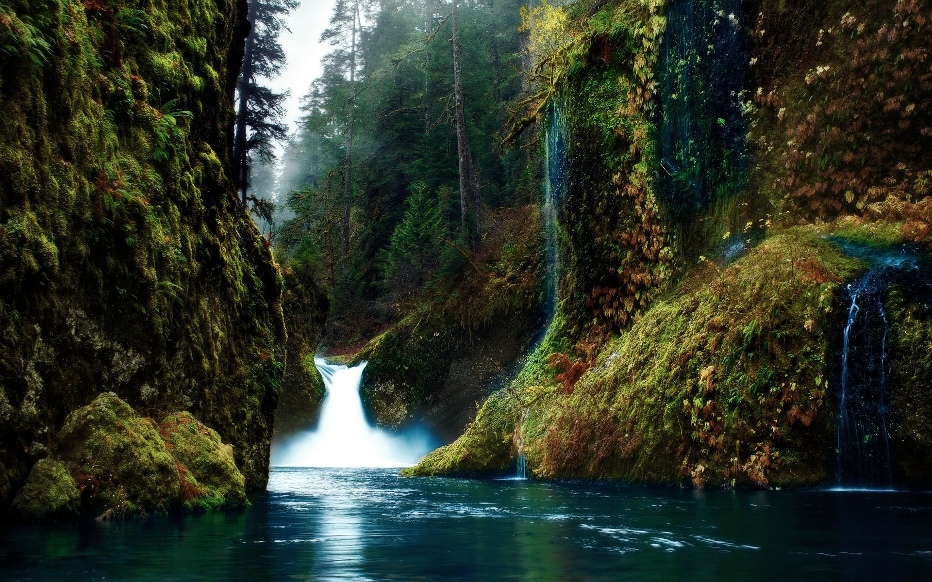 General 1920x1200 waterfall nature landscape water Oregon USA Punch Bowl Falls river