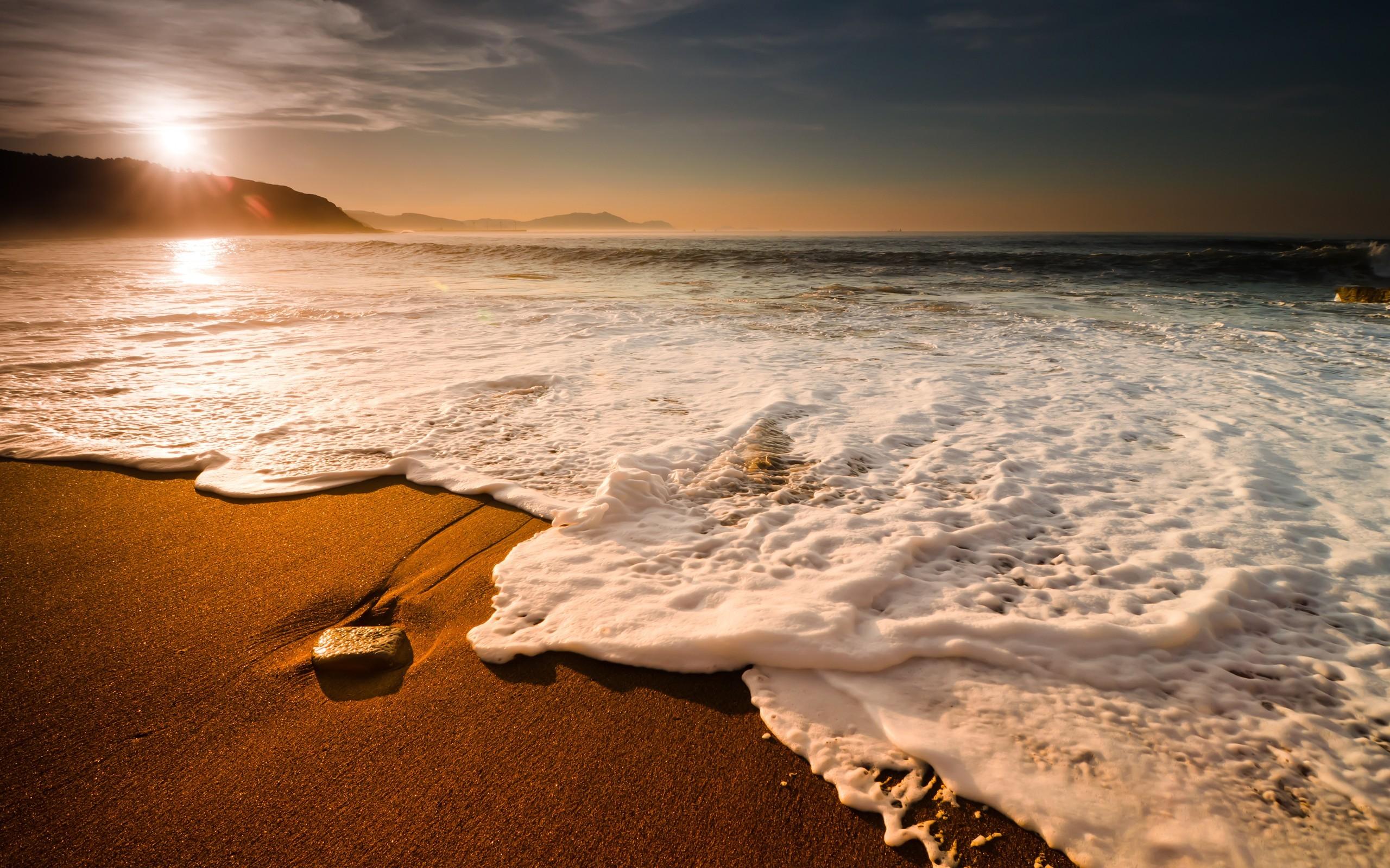General 2560x1600 water beach sunset sky stones sea outdoors horizon stone