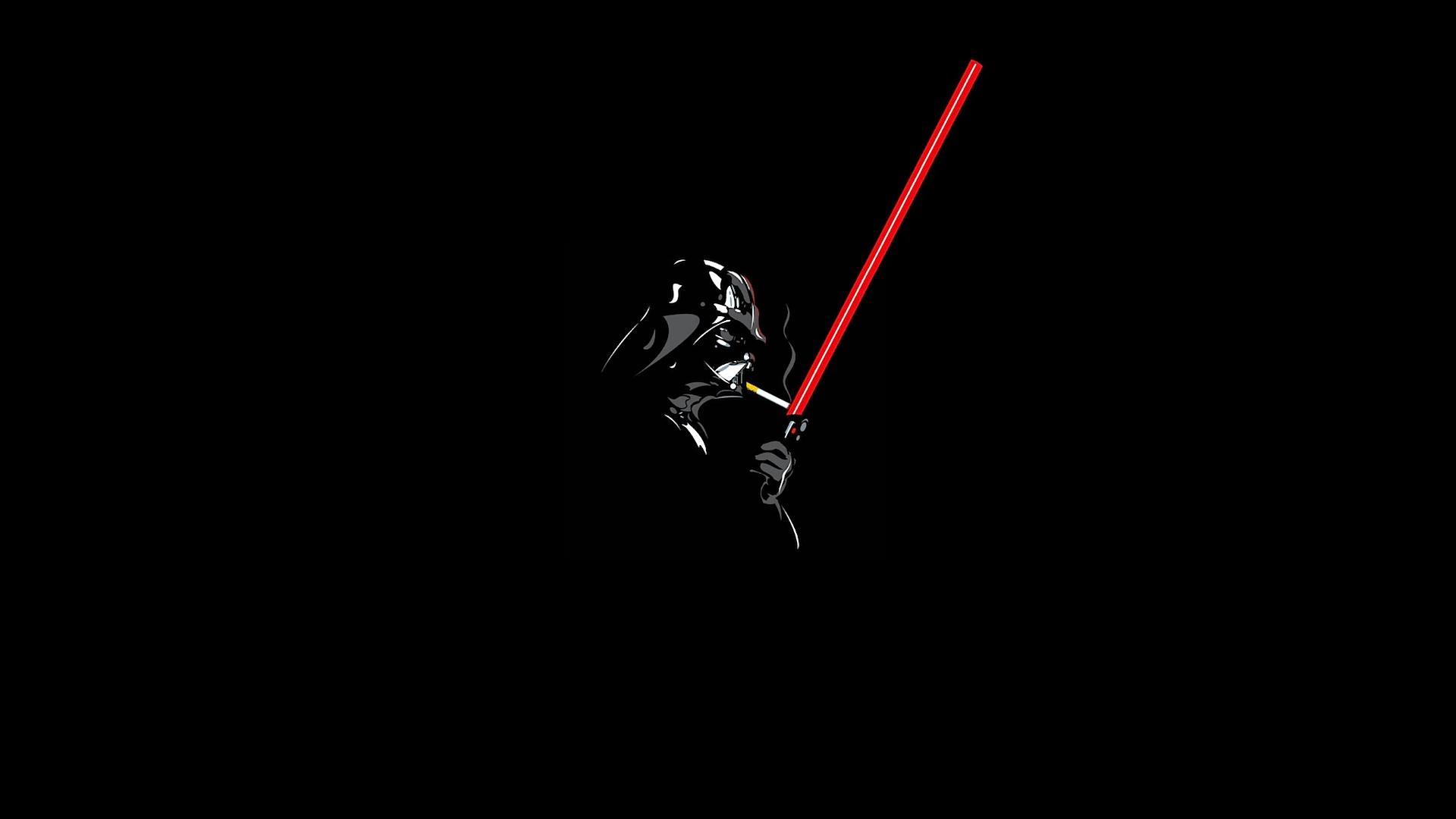 General 1920x1080 Darth Vader lightsaber smoking Star Wars humor cigarettes black minimalism Sith Star Wars Villains black background