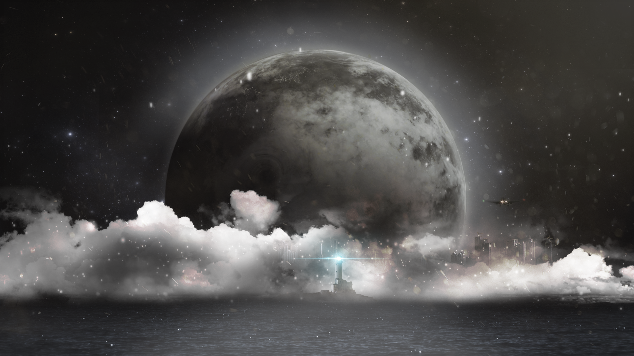 General 2560x1440 city lighthouse airplane night clouds Moon