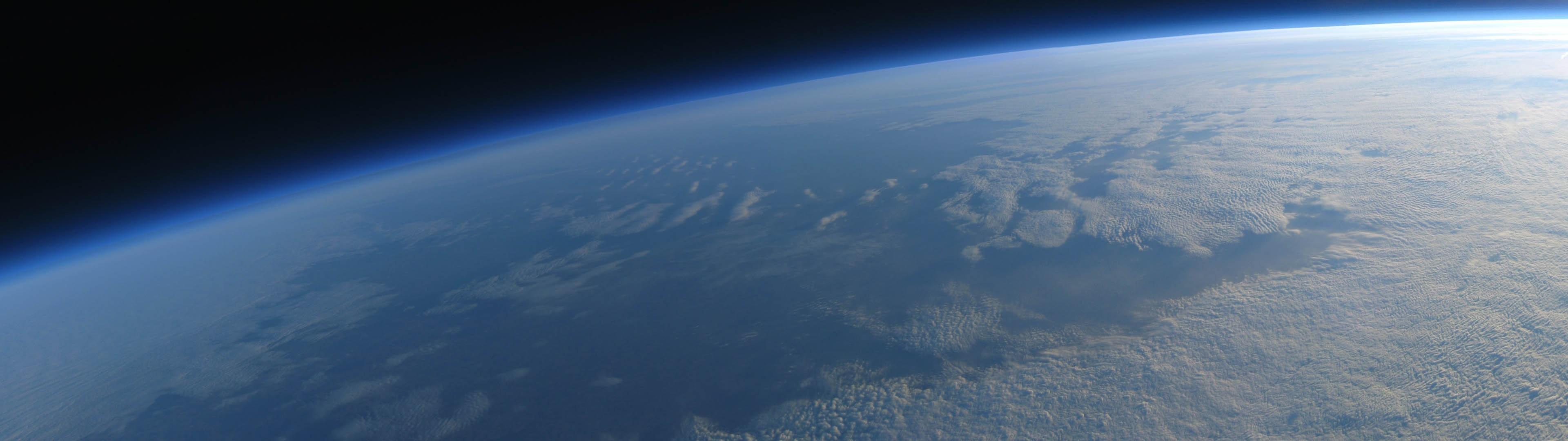 General 3840x1080 multiple display space space Earth clouds atmosphere CGI digital art space art fisheye lens