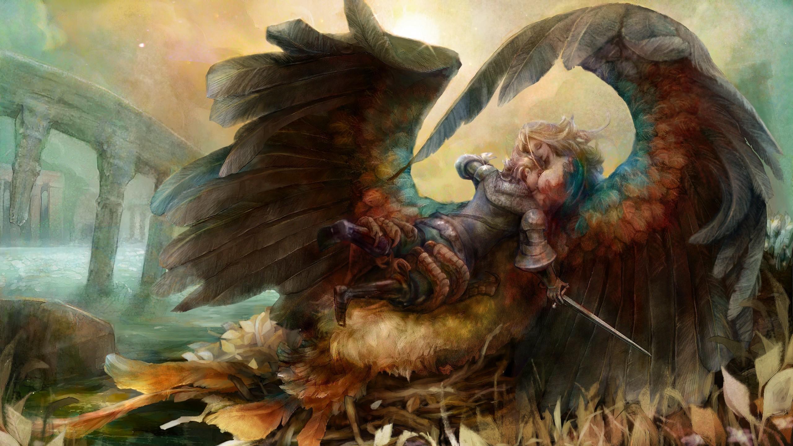 General 2560x1440 harpy knight wings fictional fantasy art fantasy girl Dragon's Crown