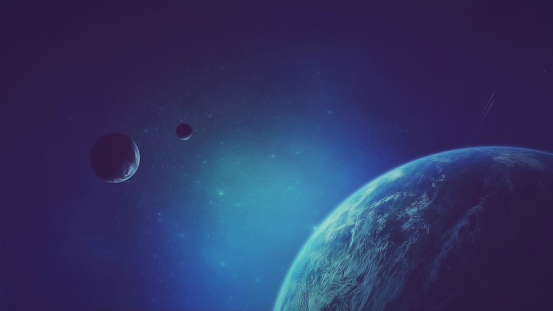 General 1920x1080 artwork fantasy art planet space stars galaxy blue space art digital art