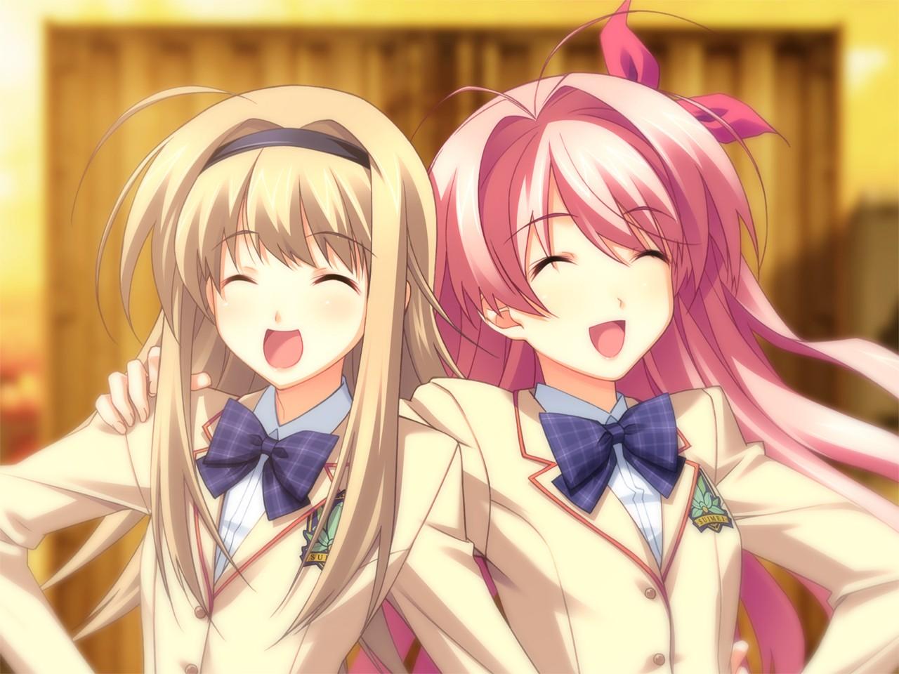 Anime 1280x960 Chaos;Head anime school uniform Sakihata Rimi Nishijou Nanami anime girls