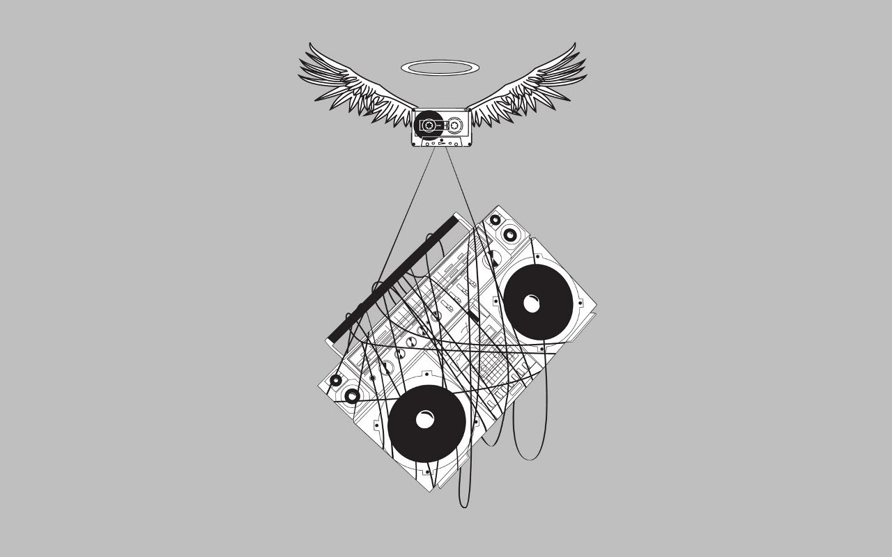 General 1280x800 cassette minimalism music boombox wires stereos wings gray
