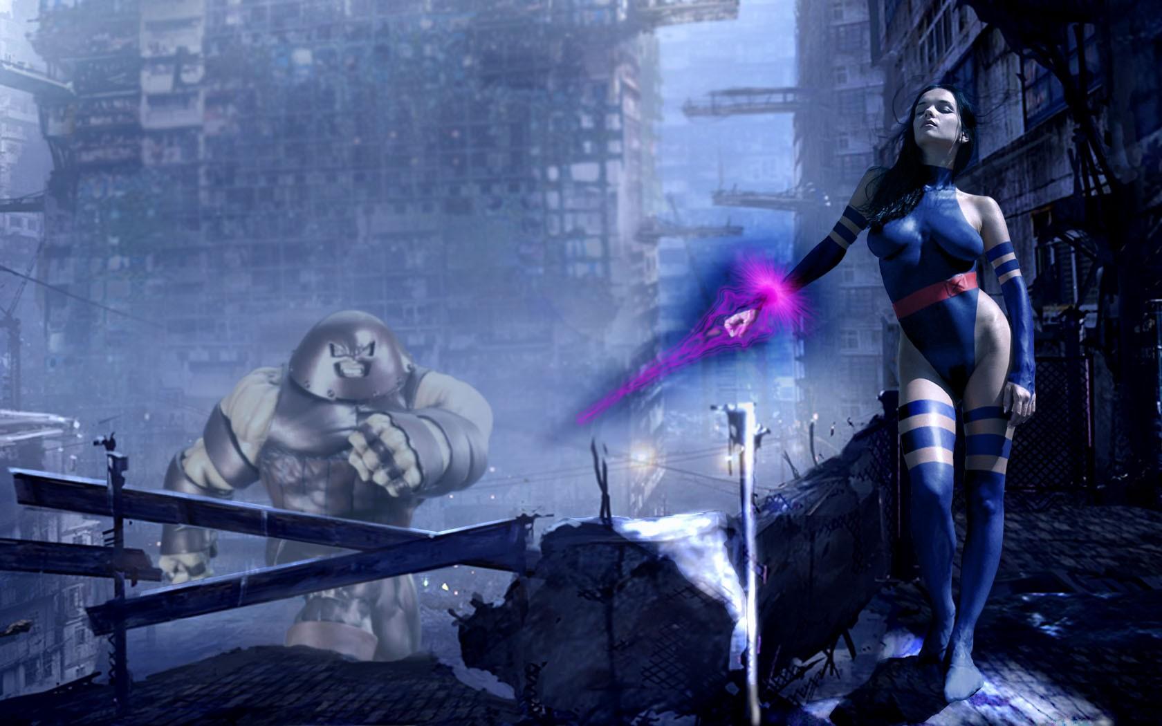 General 1680x1050 Psylocke superheroines Katie Fey Juggernaut bodysuit boobs big boobs dark hair closed eyes standing women model